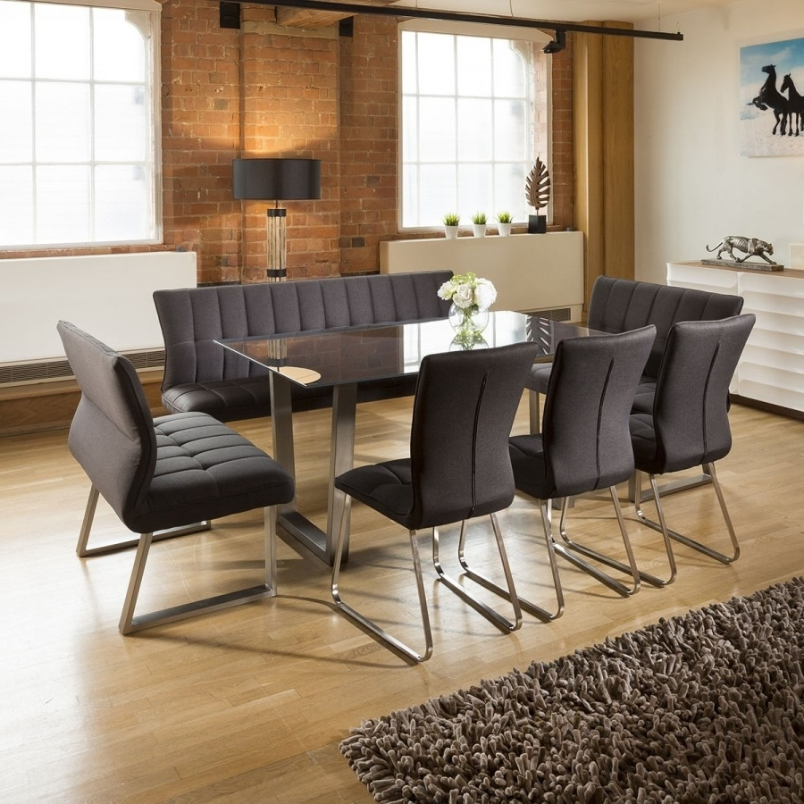 Current Grey Glass Dining Tables Intended For Modern 8 Seater Grey Glass Dining Table Set 3 X Benches And 3 X (Gallery 19 of 25)