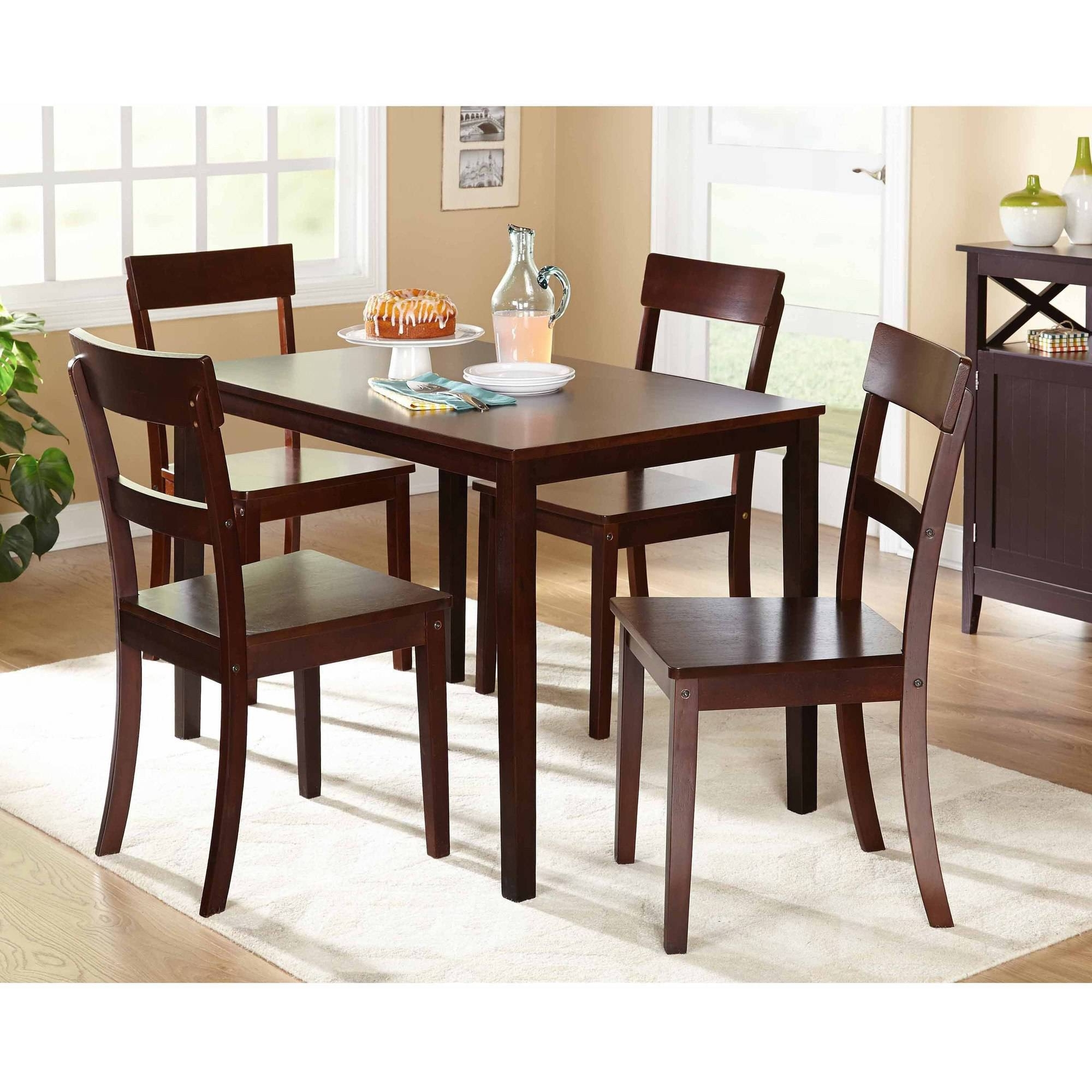 Current Harper 5 Piece Counter Sets Intended For Mainstays 5 Piece Faux Marble Top Dining Set Walmart For Walmart (View 24 of 25)