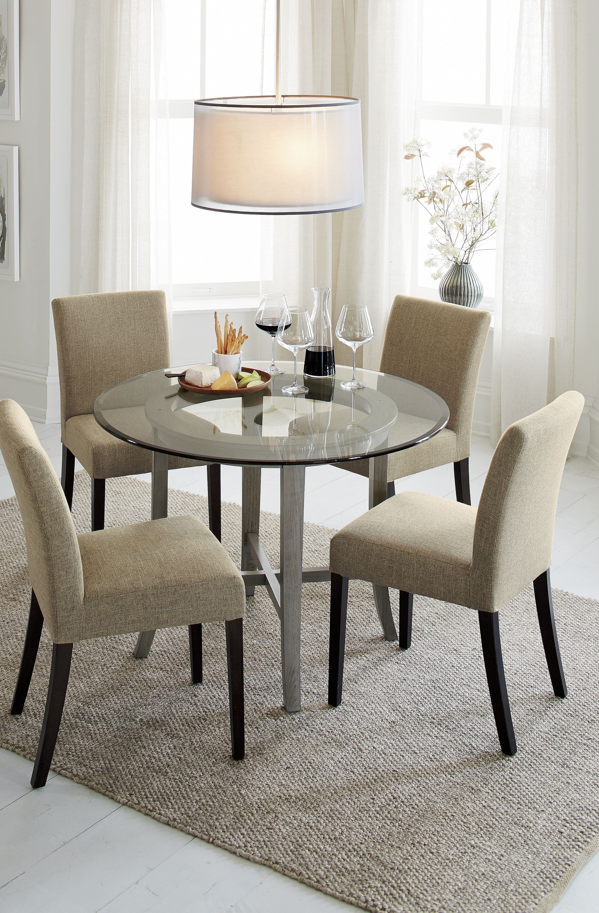 """Current Ina Pewter 60 Inch Counter Tables With Frosted Glass Within Halo Grey Round Dining Table With 42"""" Glass Top (View 9 of 25)"""