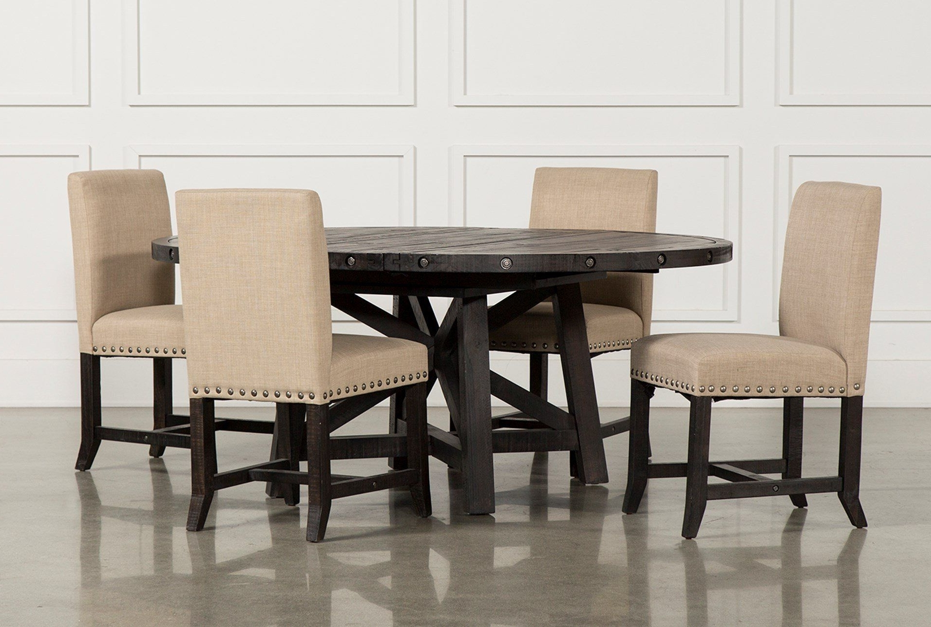 Current Jaxon 7 Piece Rectangle Dining Sets With Upholstered Chairs With Jaxon 5 Piece Round Dining Set W/upholstered Chairs (Gallery 1 of 25)