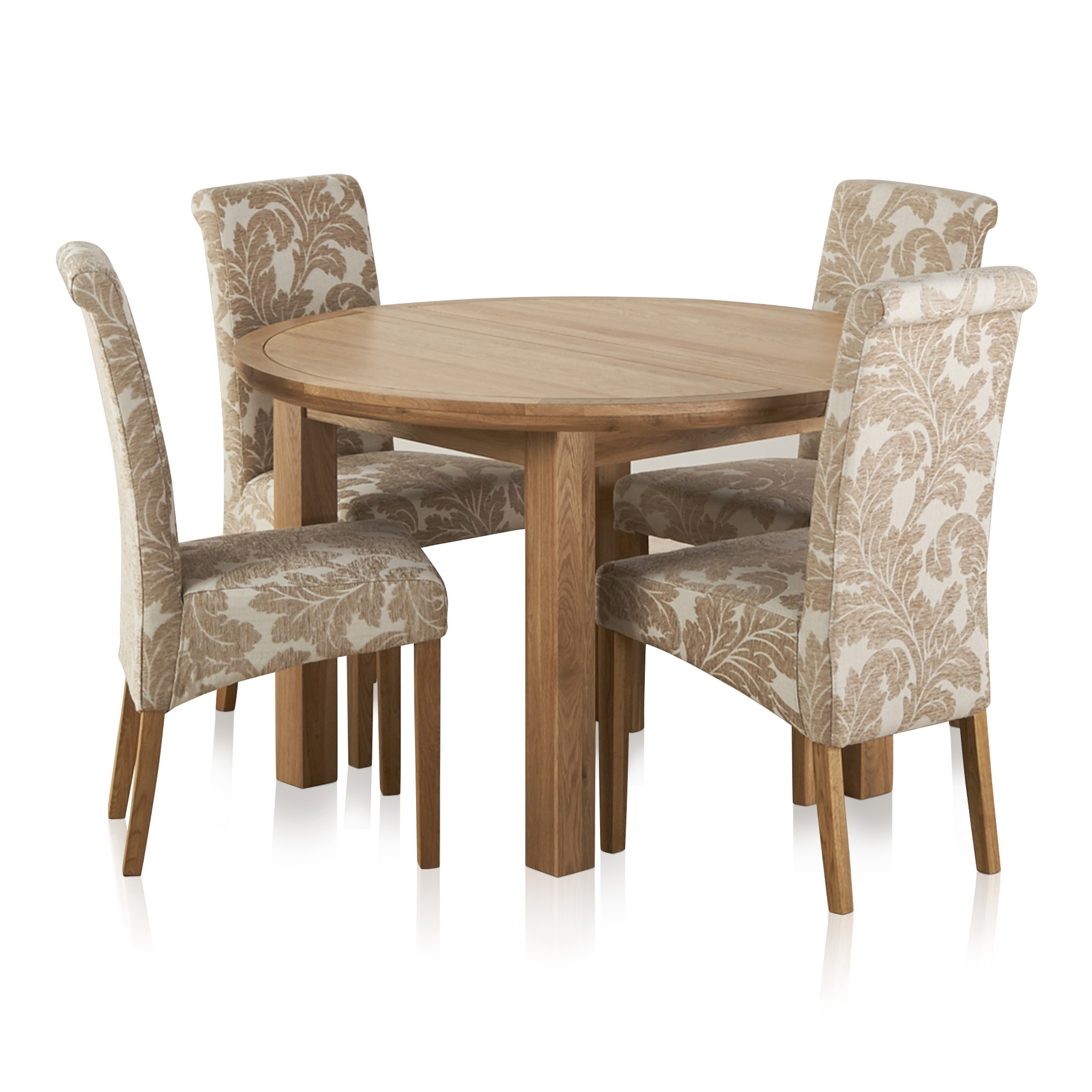 Current Knightsbridge Oak Dining Set – Round Extending Table + 4 Chairs Inside Dining Extending Tables And Chairs (View 6 of 25)