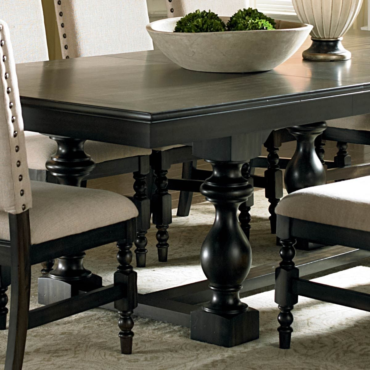 Current Leona 9 Piece Dining Set – Extension Table, Fabric Chairs (View 8 of 25)