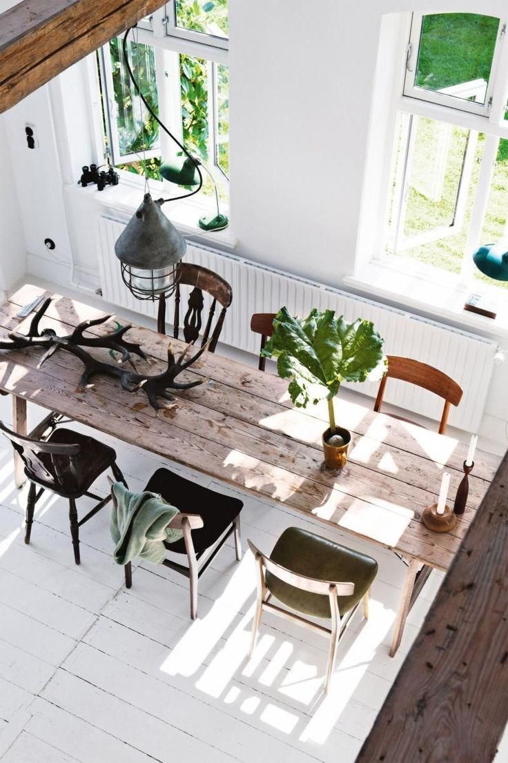 Current Long Dining Tables Inside Dining Room: Long Rustic Timber Dining Table With Six Mismatched (View 24 of 25)