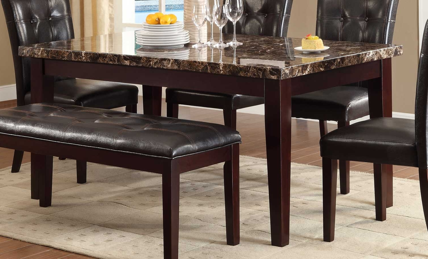 Current Marble Dining Tables Sets Inside Homelegance Teague Faux Marble Dining Table – Espresso 2544 64 (Gallery 21 of 25)