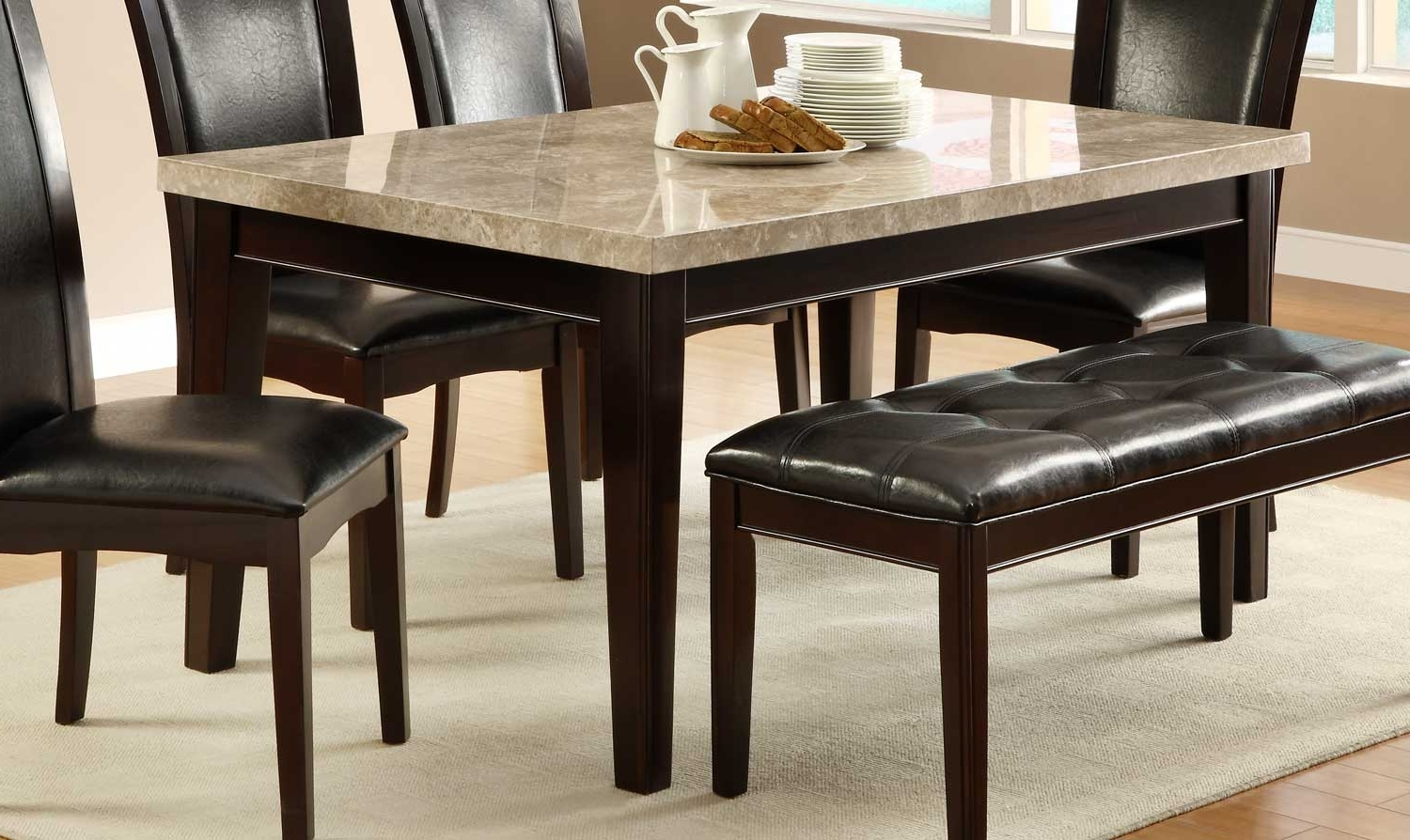 Current Marble Dining Tables Sets Pertaining To Homelegance Hahn Dining Table With Marble Top – Hahn Collection:  (View 6 of 25)