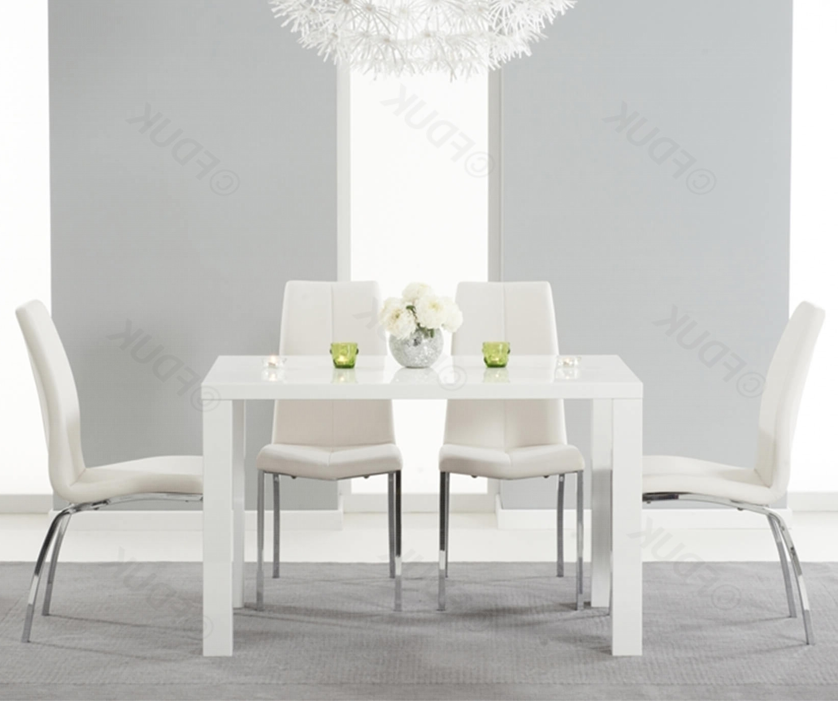 Current Mark Harris Ava White High Gloss Dining Set – 120Cm Rectangular With In White Gloss Dining Tables 120Cm (View 16 of 25)