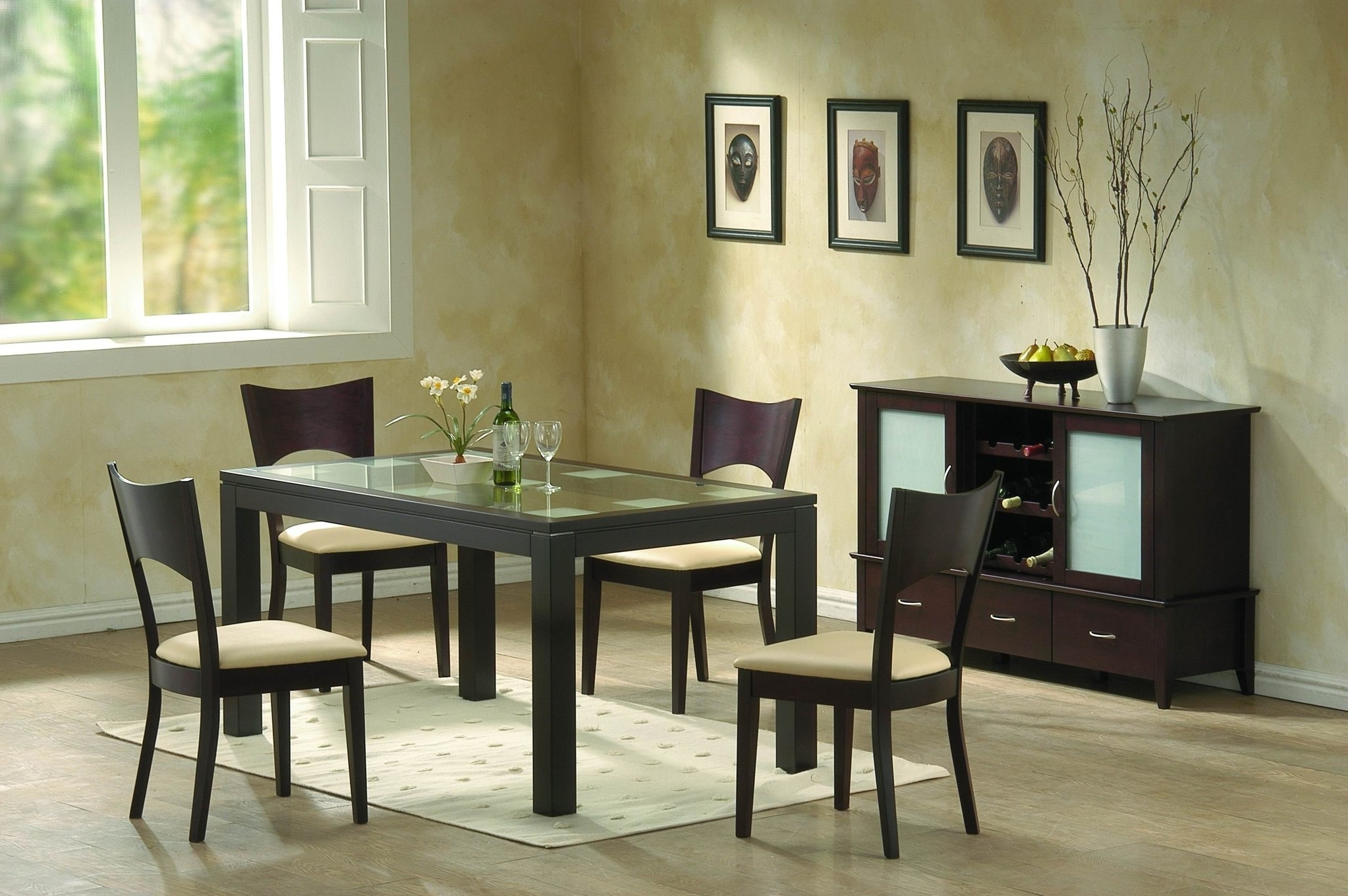 Current Modern Dining Room Furniture – Frosted Glass And Chocolate Brown For Smoked Glass Dining Tables And Chairs (Gallery 21 of 25)
