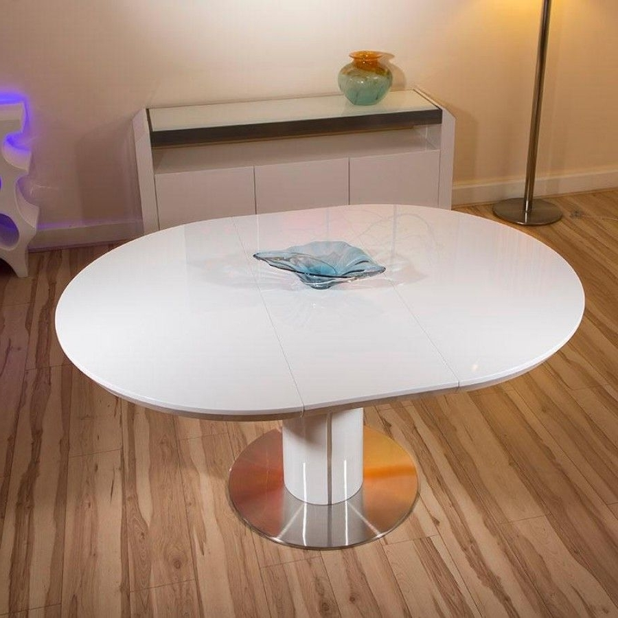 Current Modern Dining Table White Gloss Round / Oval Extending 1200 1600Mm Pertaining To White Gloss Round Extending Dining Tables (Gallery 1 of 25)