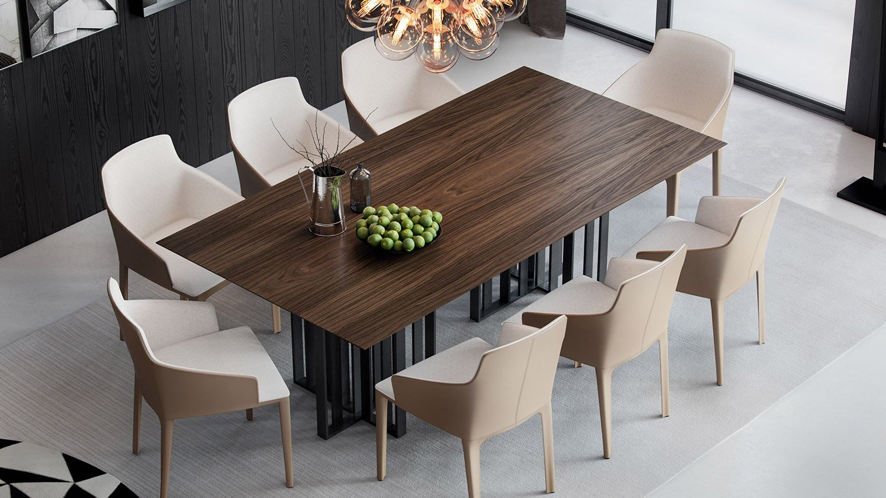 Current Modern Saida Rectangular Dining Table – Walnut On Titanium (View 6 of 25)