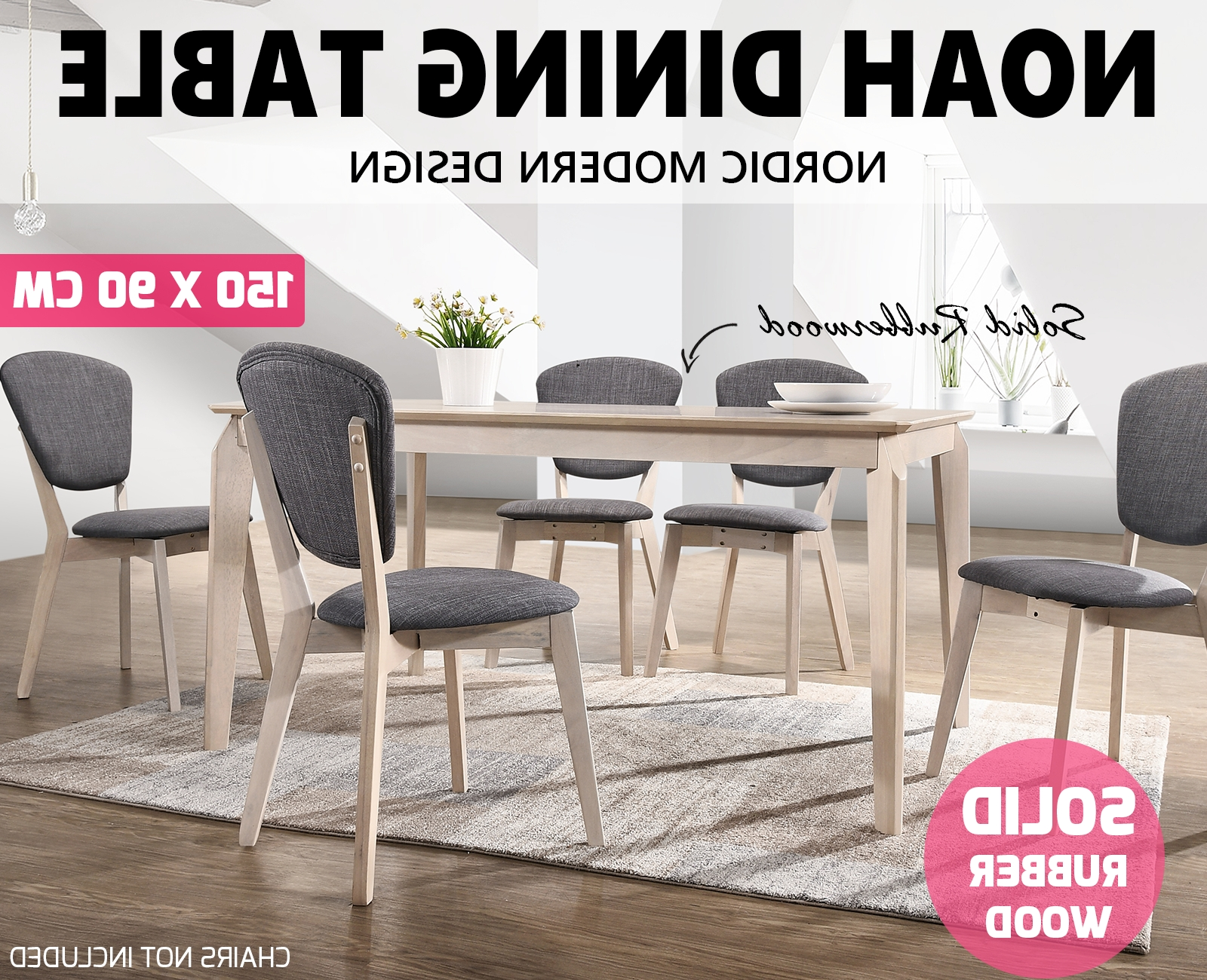 Current Noah Designer Dining Table 150X90 Cm 6 Seater Scandinavian Solid For Noah Dining Tables (View 24 of 25)