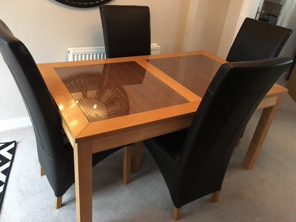 Current Oak And Glass Dining Tables And Chairs With Regard To Oak And Glass Dining Table With 4 Faux Brown Leather Chairs (View 2 of 25)