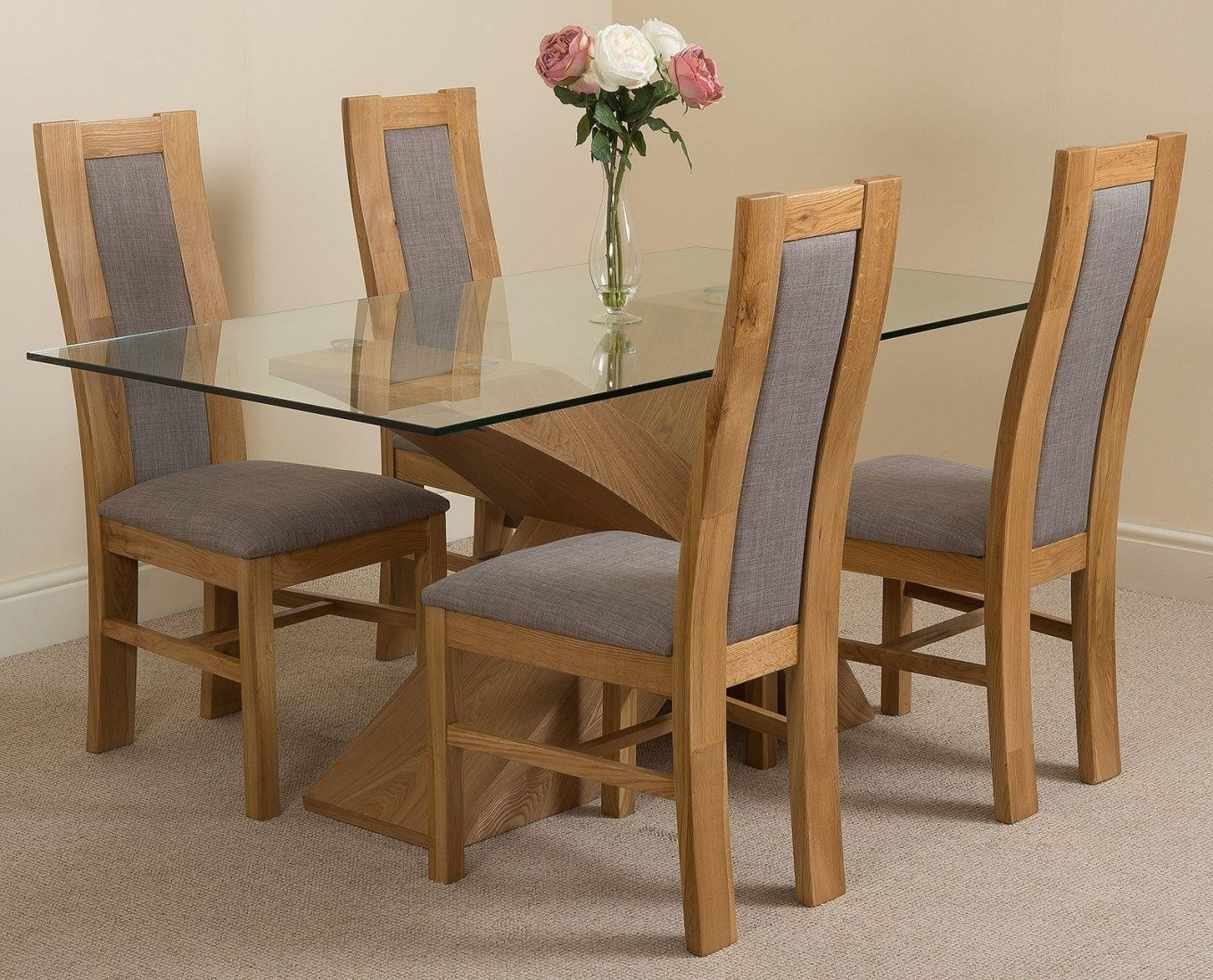 Current Oak And Glass Dining Tables Regarding Valencia Oak 160Cm Wood And Glass Dining Table With 4 Stanford Solid (View 4 of 25)
