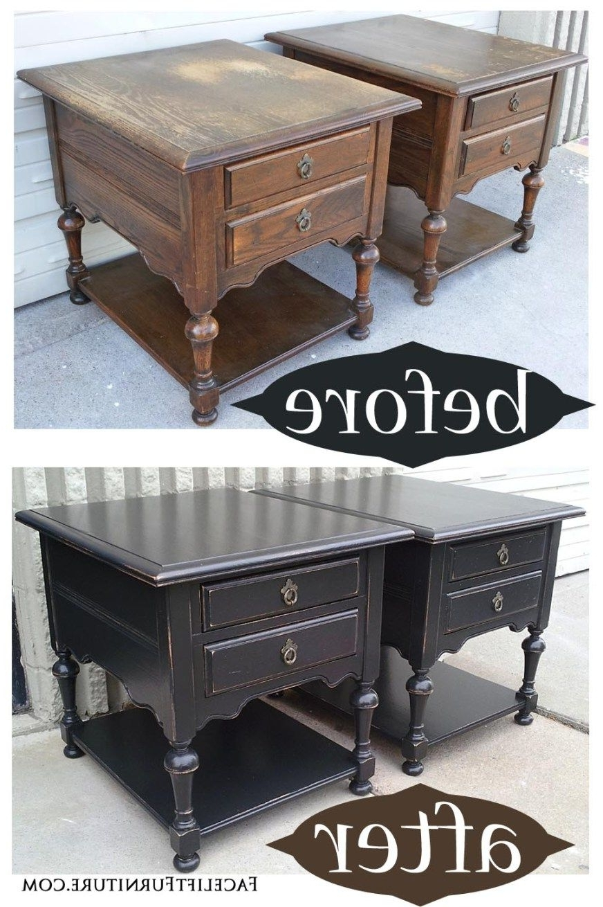 Current Oak End Tables In Distressed Black – Before & After (View 2 of 25)