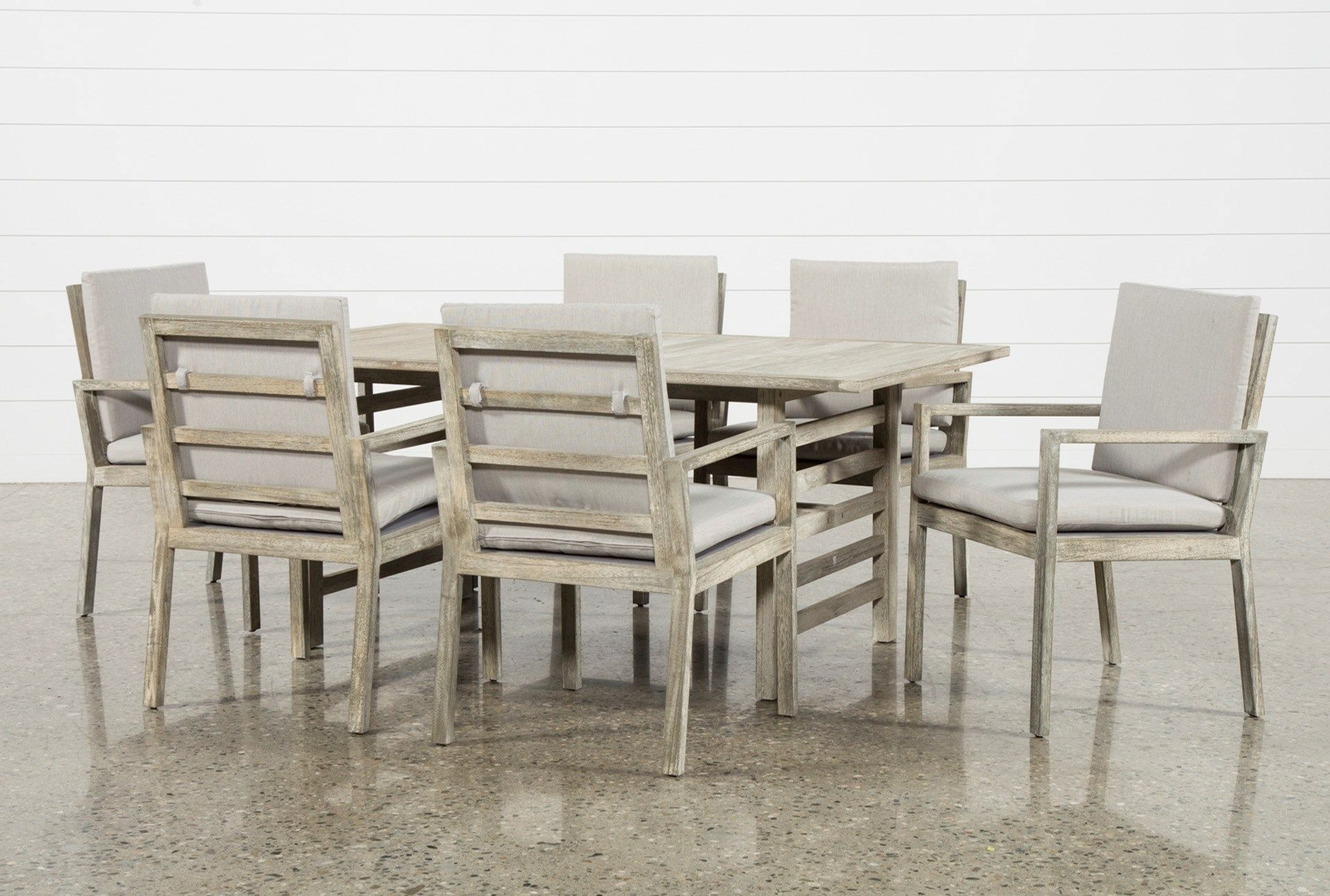 Current Outdoor Pompeii 7 Piece Dining Set, Grey (Gallery 5 of 25)