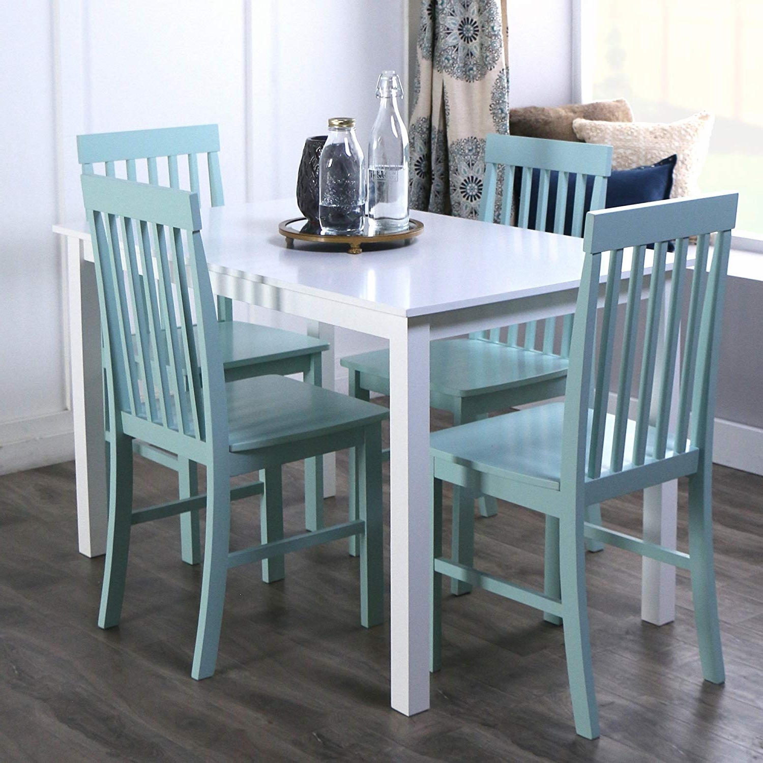 Current Palazzo 3 Piece Dining Table Sets In Amazon – We Furniture 5 Piece Chic Wood Dining Set, Green (View 20 of 25)