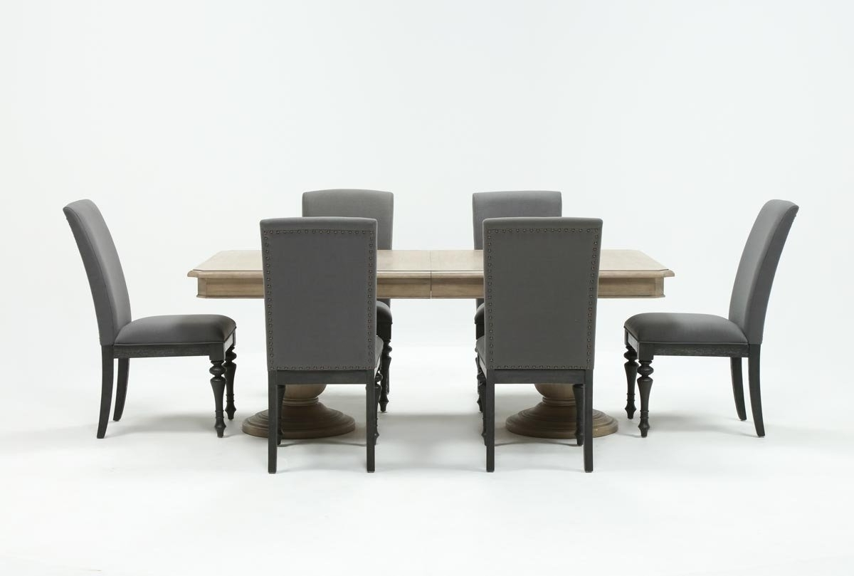Current Palazzo 6 Piece Dining Set With Mindy Slipcovered Side Chairs With Caira 7 Piece Rectangular Dining Set With Upholstered Side Chairs (Gallery 11 of 25)