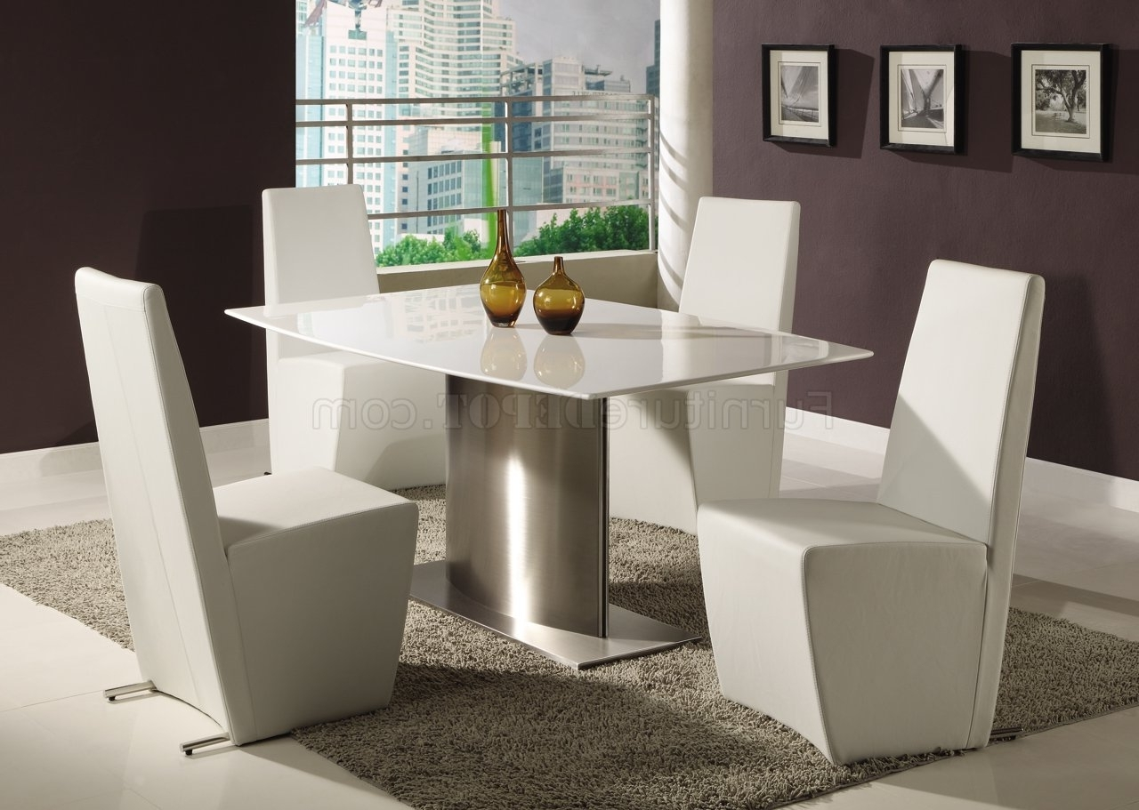 Current Perth White Dining Chairs Pertaining To Modern Dining Room Table W/white Marble Top & Steel Base (View 5 of 25)