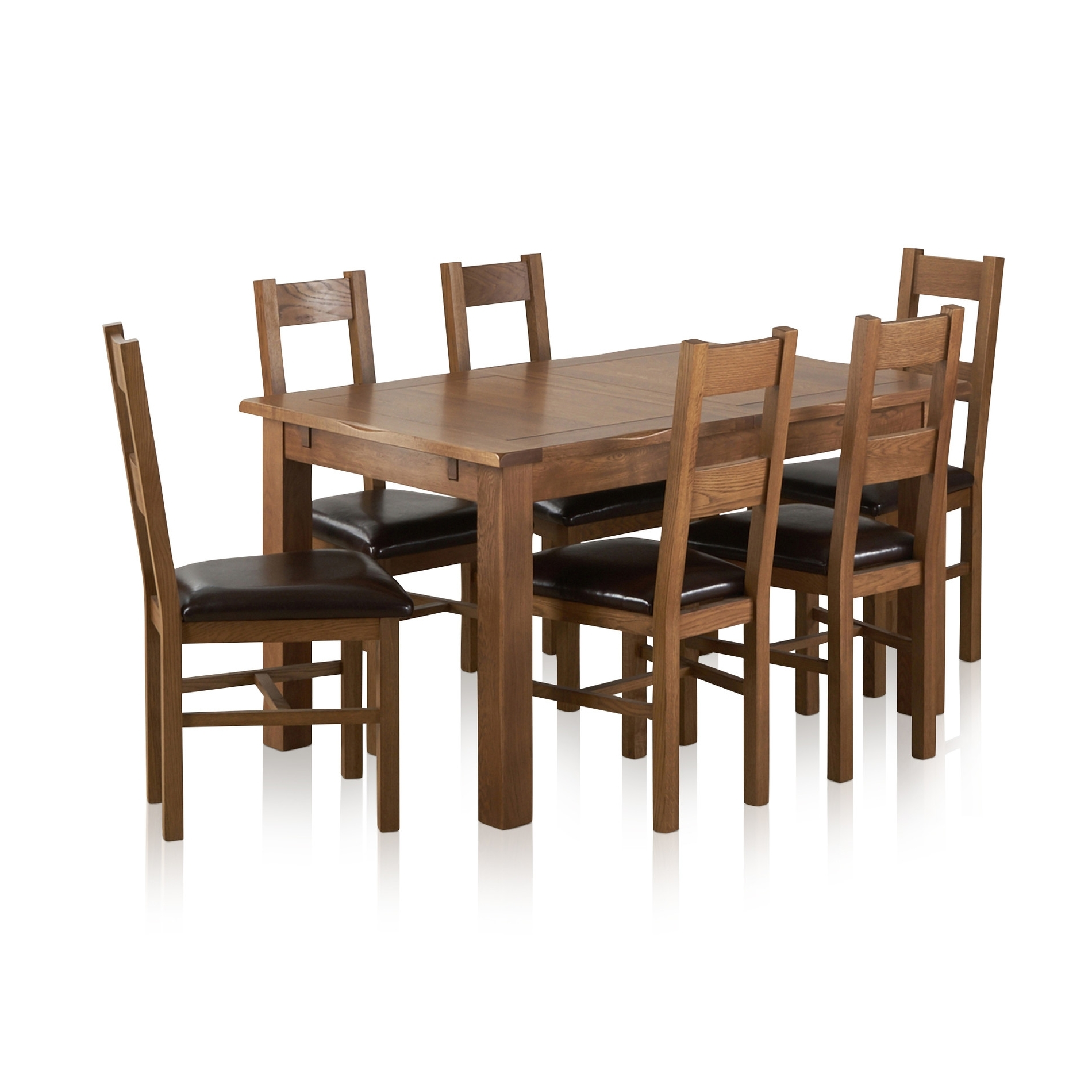Current Rushmere Extending Dining Table In Rustic Oak + 6 Leather Chairs With Regard To Extendable Dining Tables 6 Chairs (View 20 of 25)