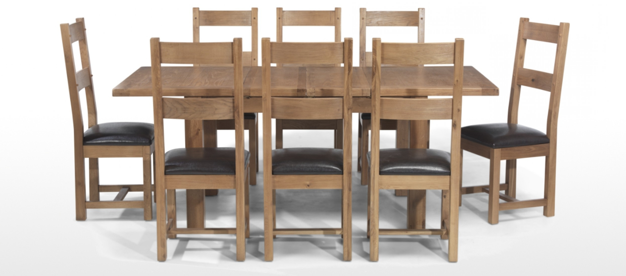 Current Rustic Oak 132 198 Cm Extending Dining Table And 8 Chairs (View 21 of 25)