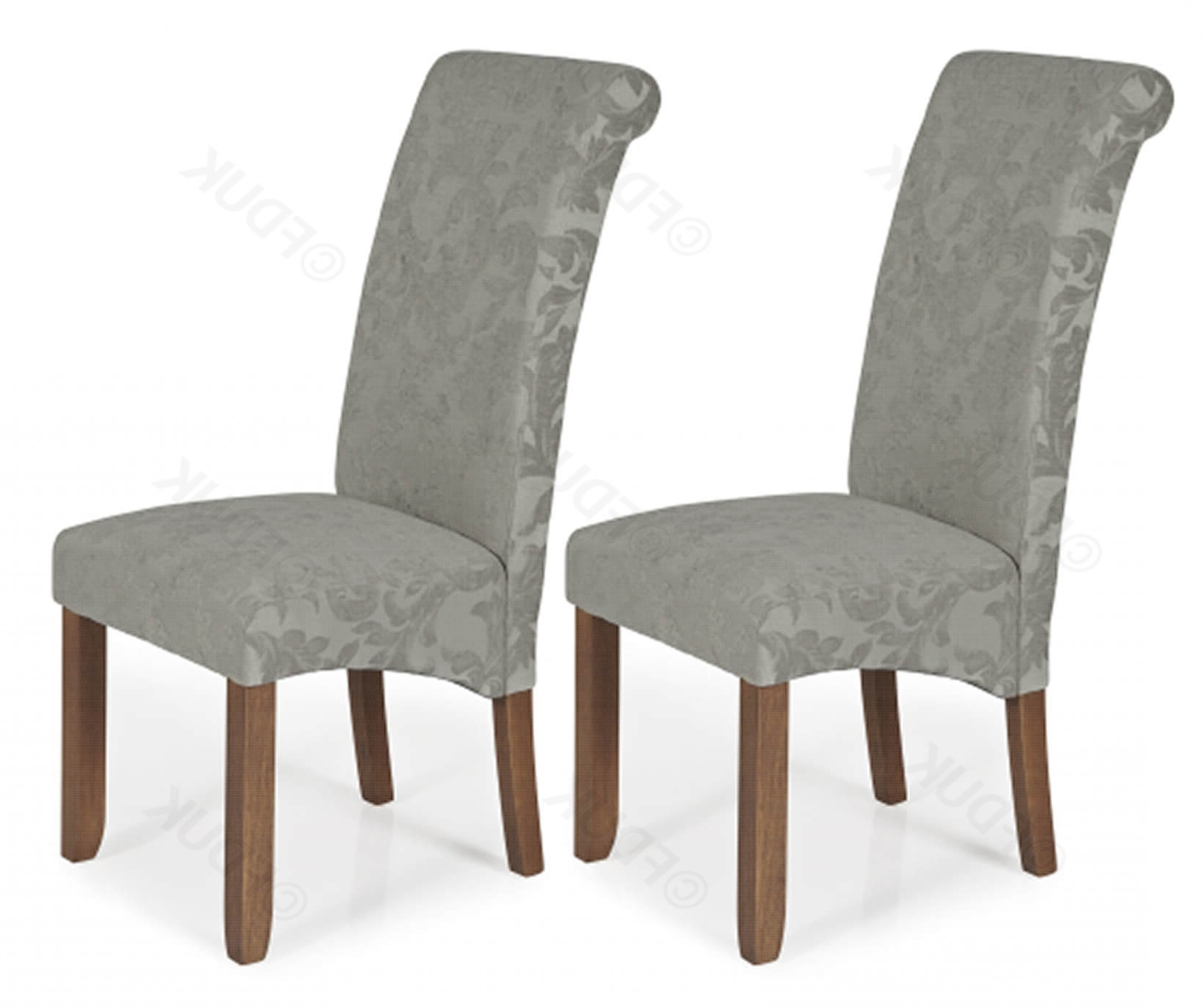 Current Serene Furnishings Kingston Silver Floral Chairs With Walnut Legs Fduk Best  Price Guarantee We Will Beat Our Competitors Price! Give Our Sales Team A Within Fabric Dining Chairs (Gallery 11 of 25)