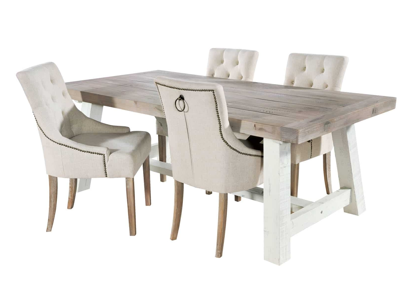 Current Shabby Dining Tables And Chairs Throughout Purbeck Shabby Chic Dining Table With Stella Chairs – Newco (View 5 of 25)