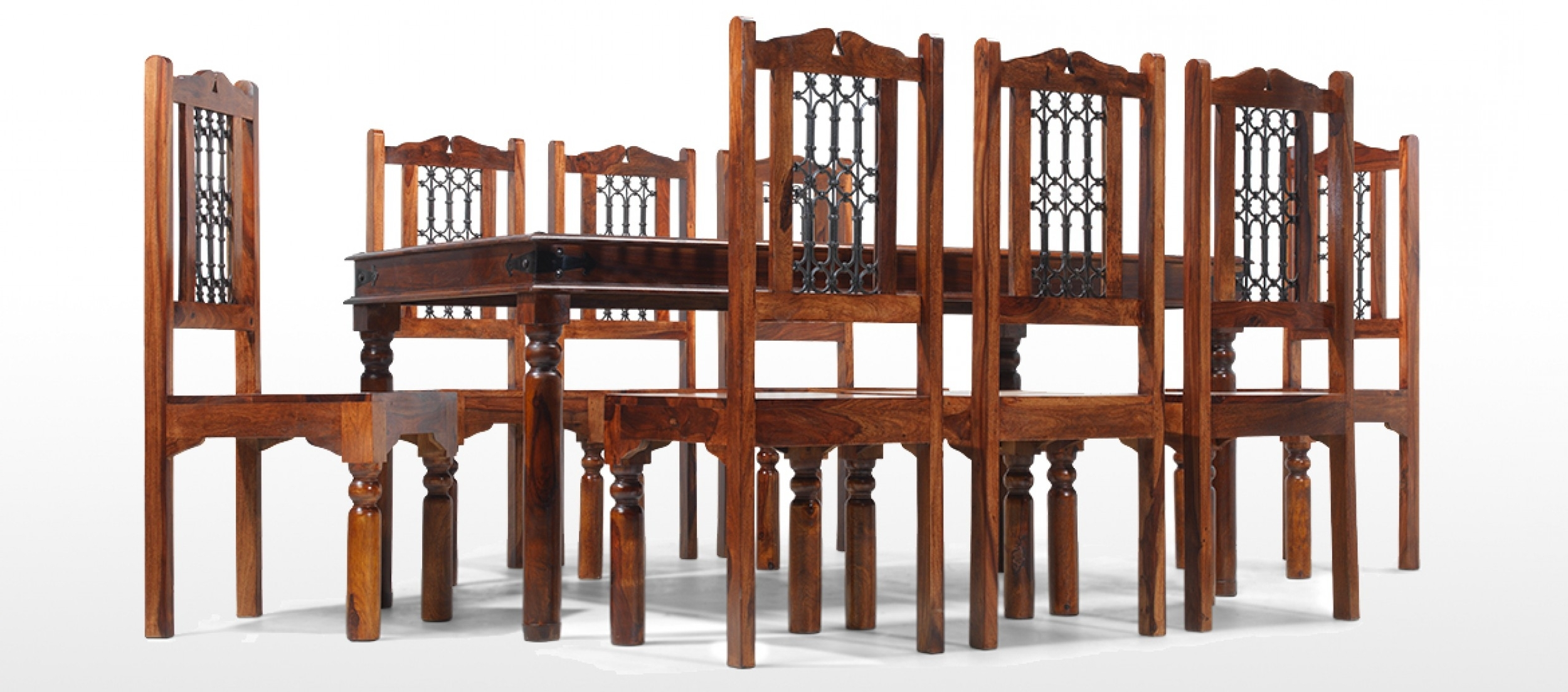 Current Sheesham Dining Tables 8 Chairs Pertaining To Jali Sheesham 180 Cm Thakat Dining Table And 8 Chairs (View 4 of 25)
