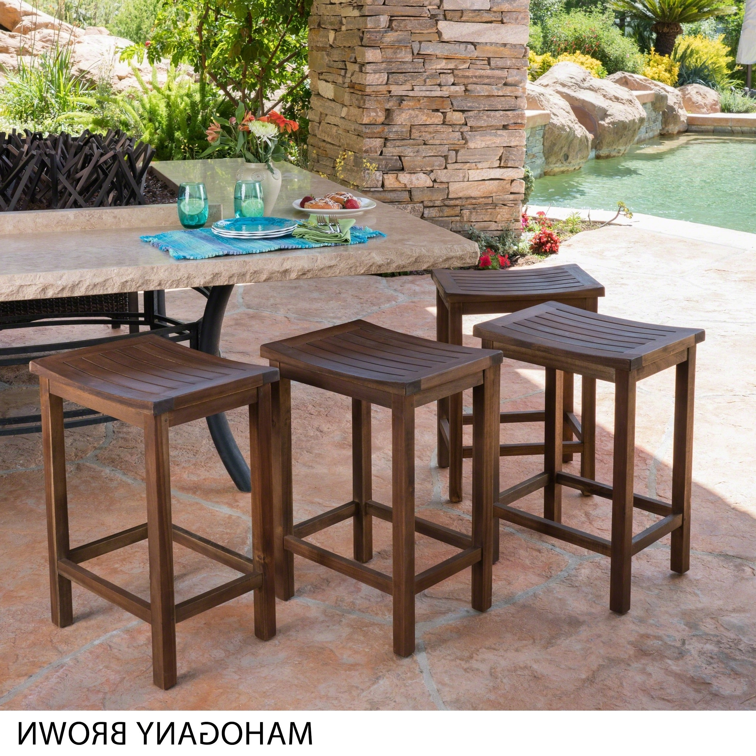 Current Shop Amantani Outdoor Acacia Counter Stool (Set Of 4)Christopher Regarding Valencia 4 Piece Counter Sets With Bench & Counterstool (View 25 of 25)