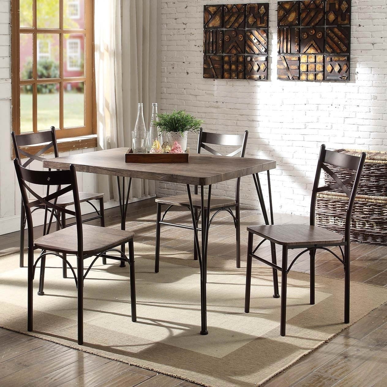 Current Small Dining Sets Inside Shop Furniture Of America Hathway Industrial 5 Piece Dark Bronze (Gallery 9 of 25)