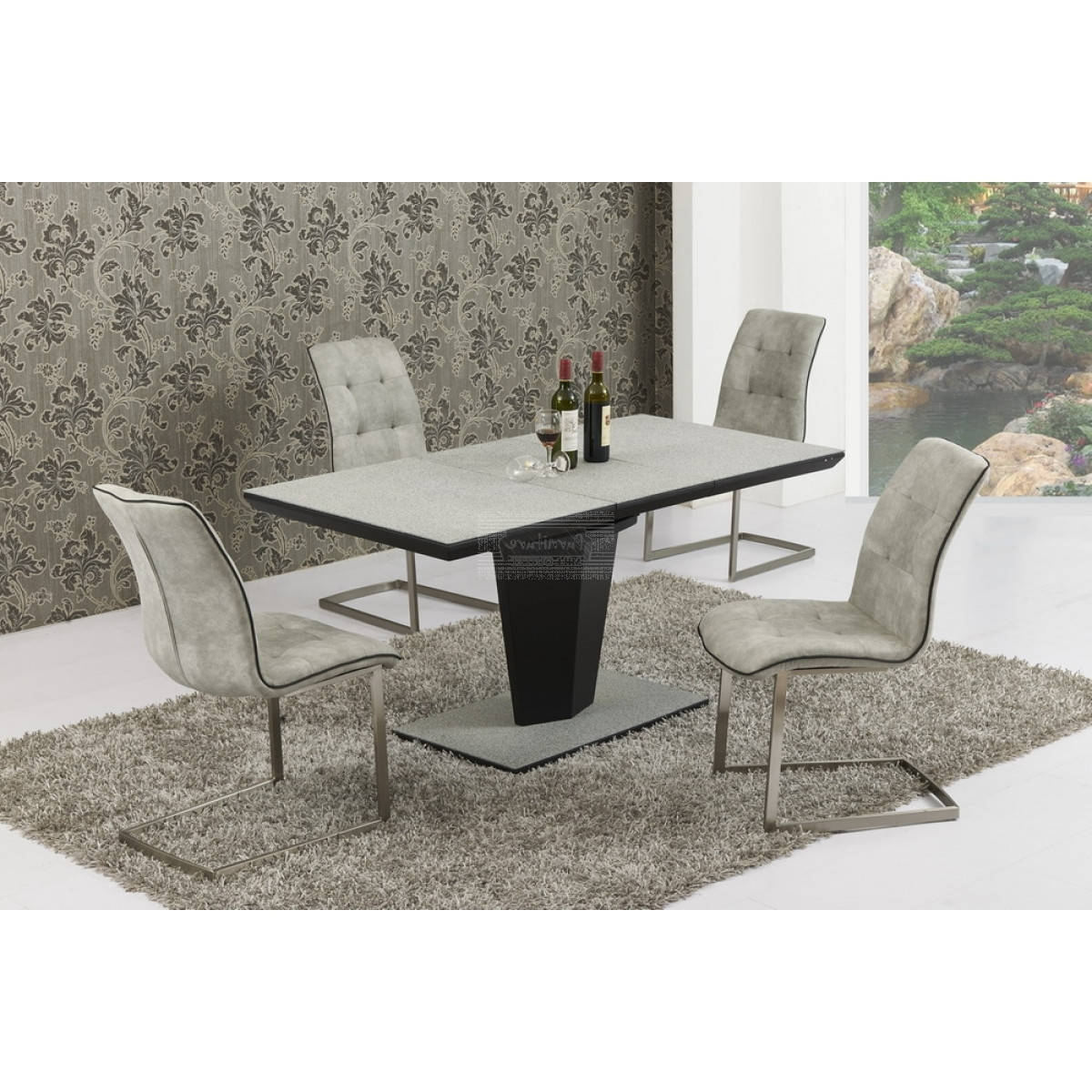 Current Stefano Stone Effect Extending Dining Table 160/220 – Furniture Mill For Marble Effect Dining Tables And Chairs (View 4 of 25)