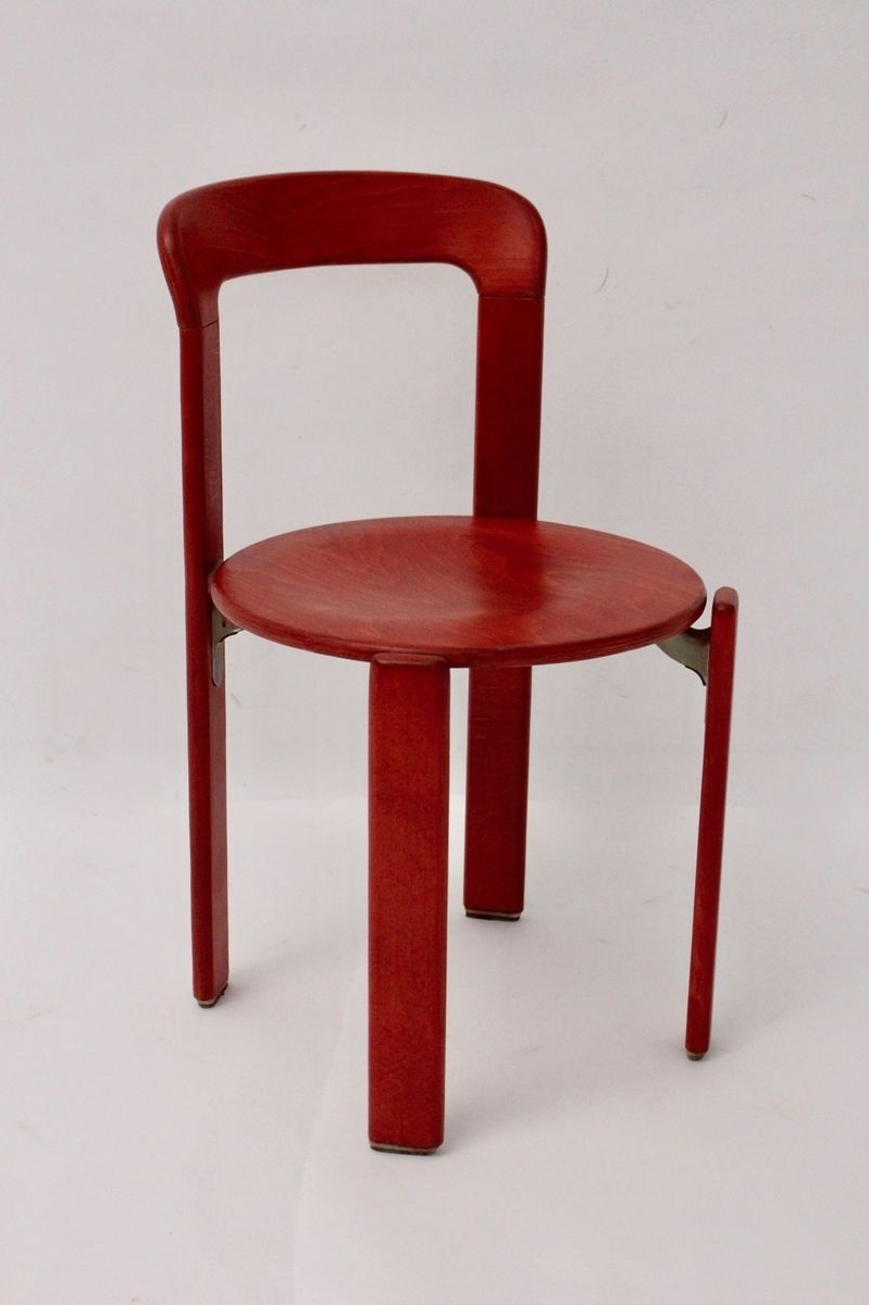Current Vintage Red Dining Chairsbruno Rey For Kusch & Co, Set Of 4 For Intended For Red Dining Chairs (Gallery 11 of 25)
