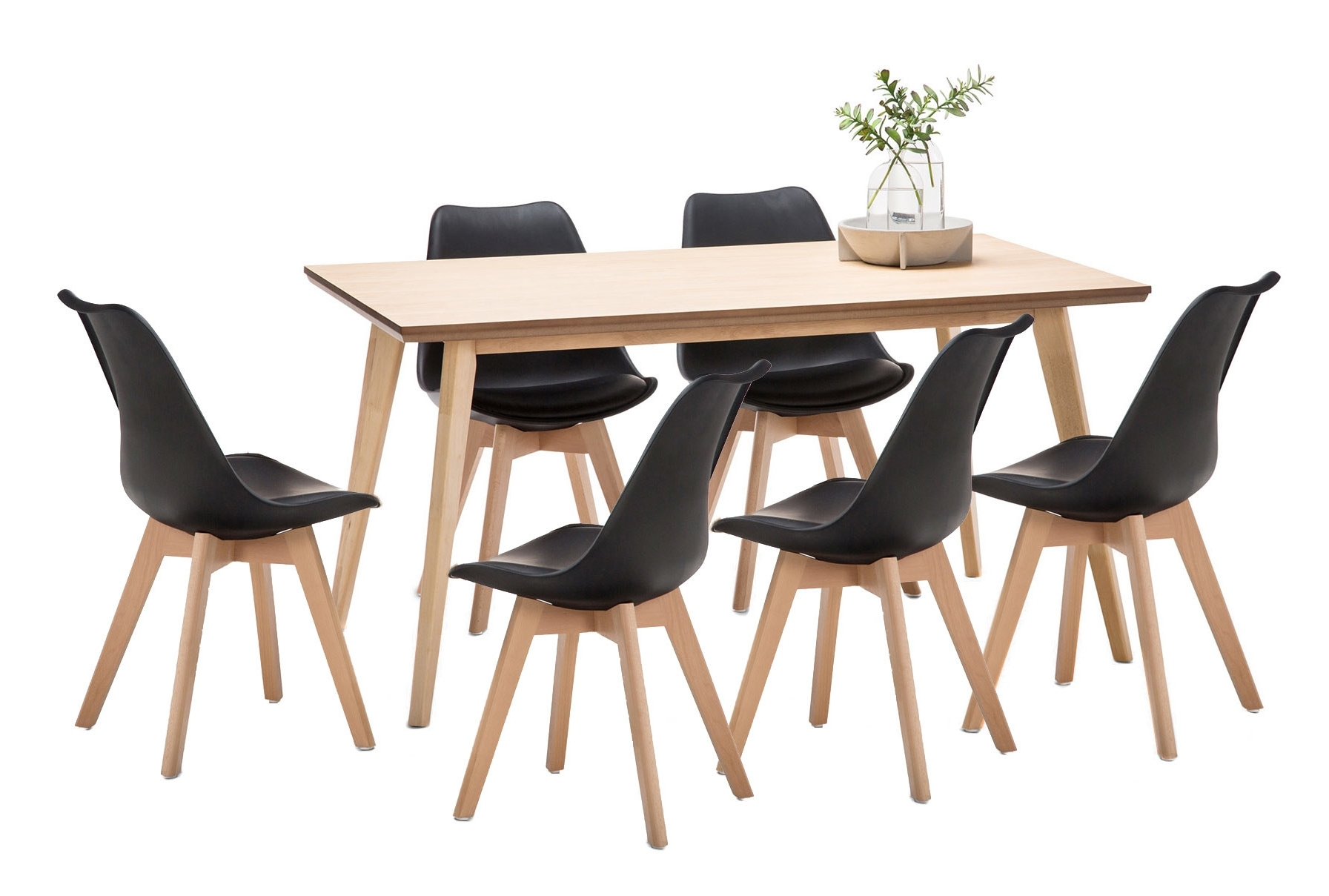 Current Wyatt Dining Table & 6 Padded Eames Replica Chairs Set (View 4 of 25)