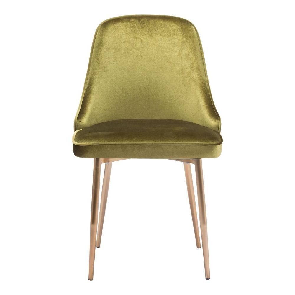 Current Zuo Merritt Green Velvet Dining Chair 100840 – The Home Depot For Velvet Dining Chairs (View 11 of 25)