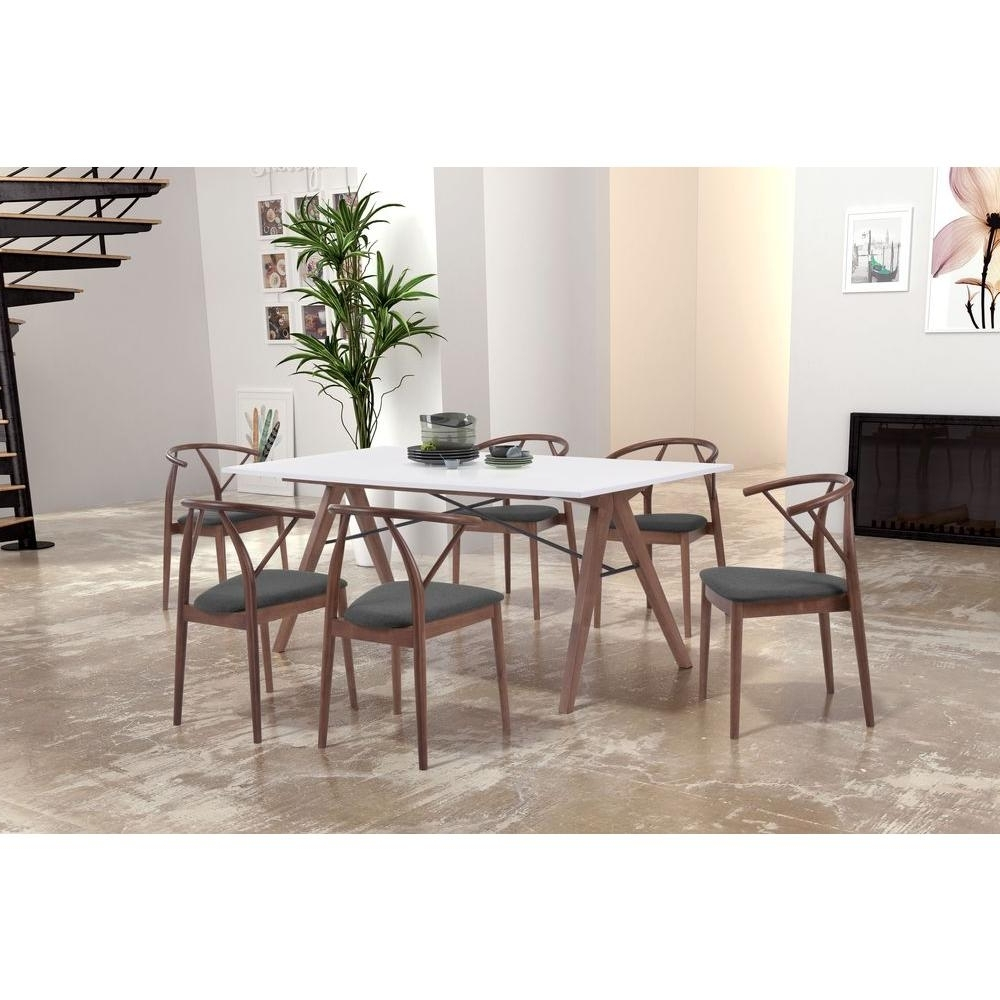 Current Zuo Saints Walnut And White Dining Table 100143 – The Home Depot Within White Dining Sets (View 6 of 25)