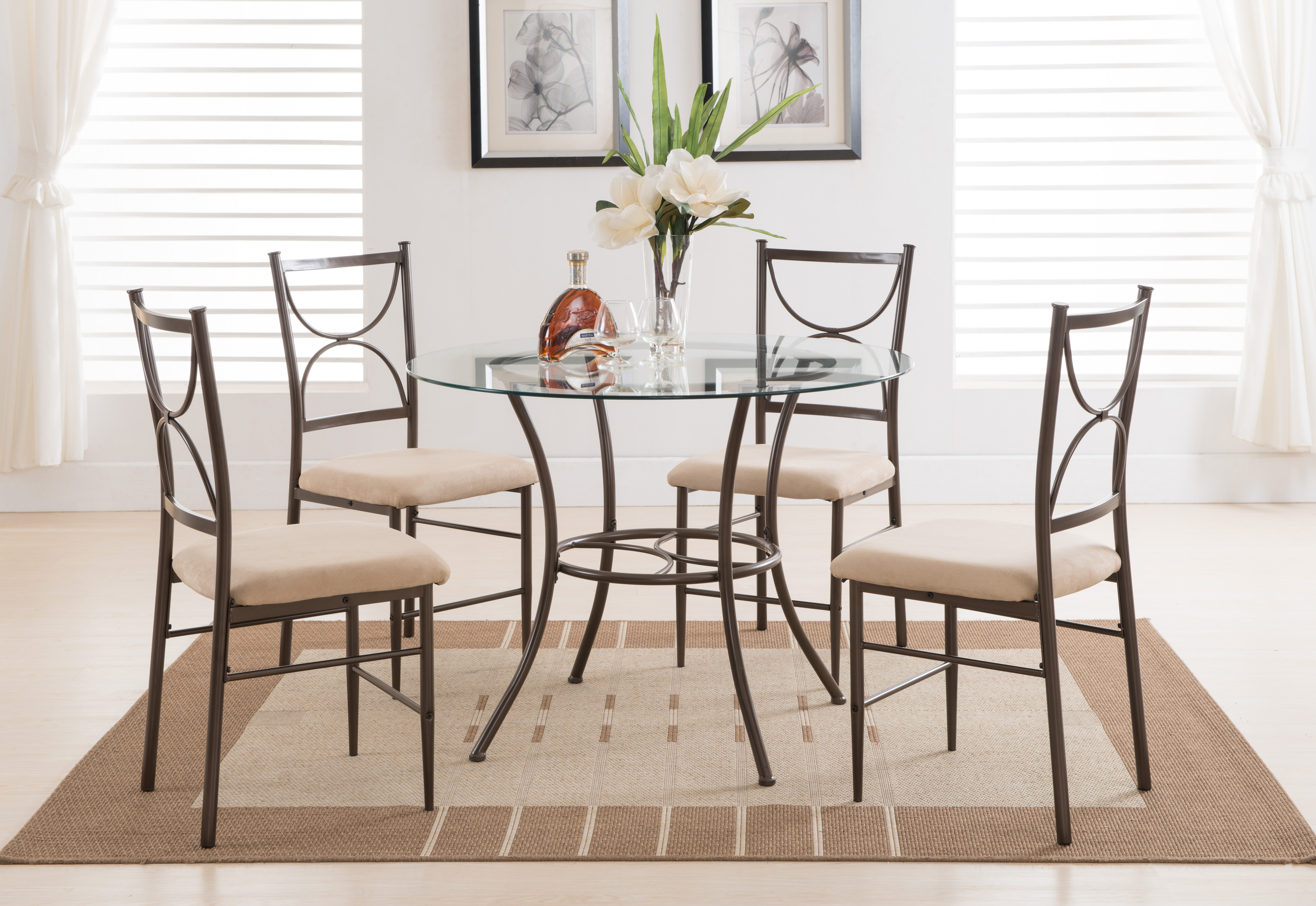 Curved Glass Dining Tables Regarding Latest Copper Metal And Glass Round Kitchen Dinette Dining Table Set (View 20 of 25)