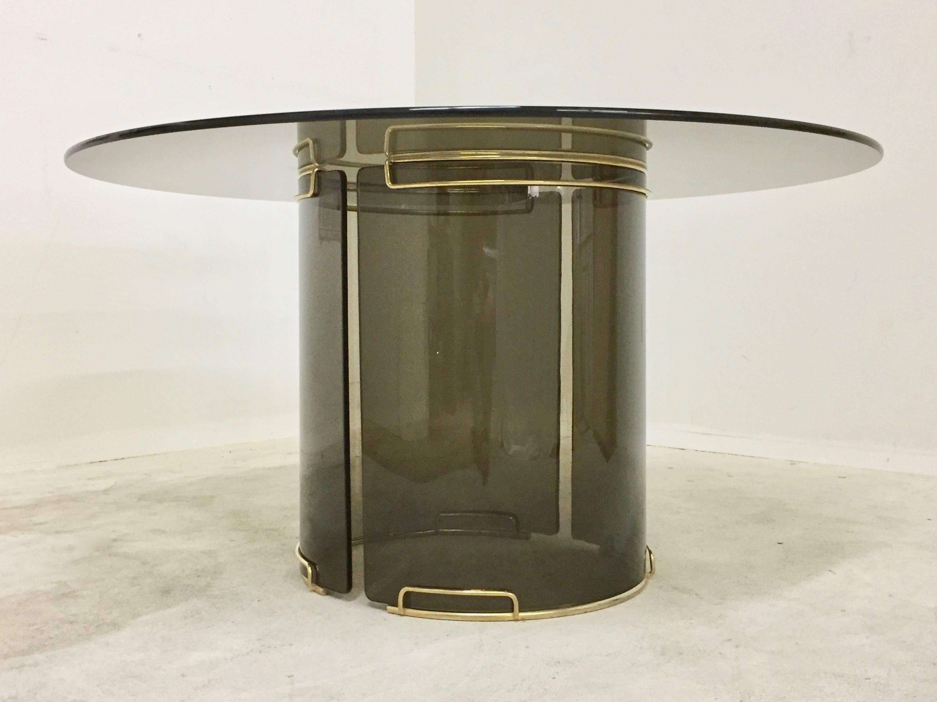 Curved Glass Dining Tables Regarding Popular Round Grey Smoky Glass Dining Table With Curved Glass Base And Brass (View 17 of 25)