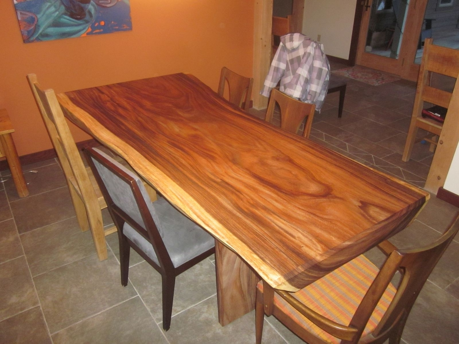 Custom Acacia Slab Dining Tableclean Air Woodworks (View 15 of 25)