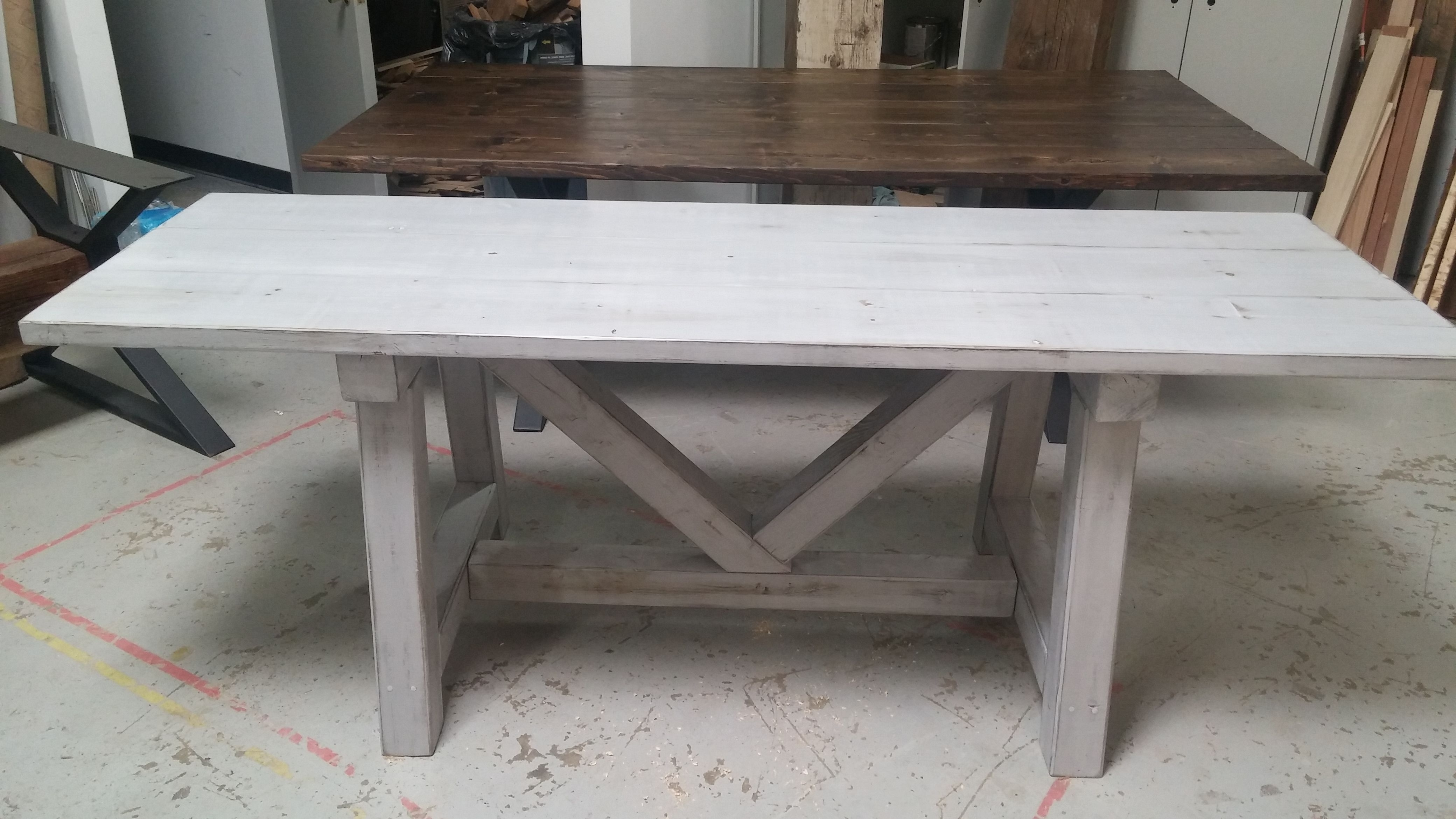 Custom Distressed Grey Trestle Farmhouse Table, Reclaimed Wood Throughout Most Recent Grey Dining Tables (Gallery 16 of 25)