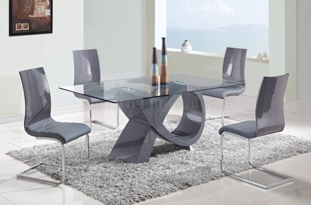 D989 Dining Table W/glass Top & Grey Baseglobal W/options with regard to Favorite Grey Glass Dining Tables