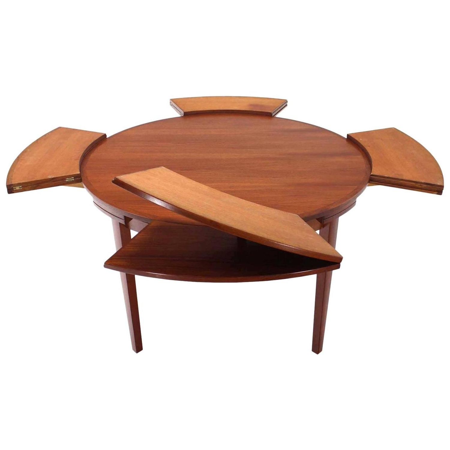 Danish Dining Tables with Most Up-to-Date Rare Danish Modern Teak Round Expandable Top Dining Table At 1Stdibs