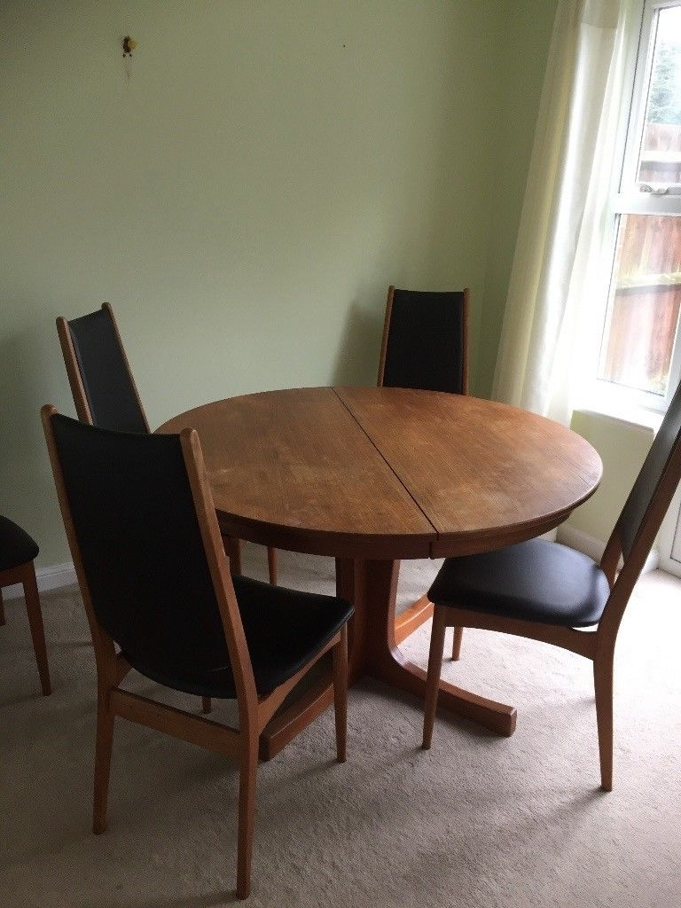 Danish Style Dining Tables Pertaining To Trendy Retro Danish Style Circular Dining Table & 6 Chairs (View 3 of 25)