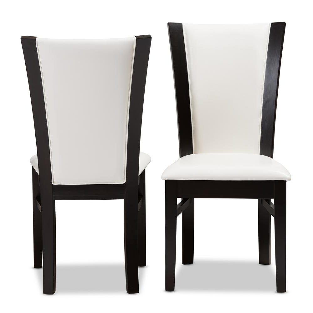 Dark Brown Leather Dining Chairs for Most Recently Released Baxton Studio Adley White And Dark Brown Faux Leather Dining Chair