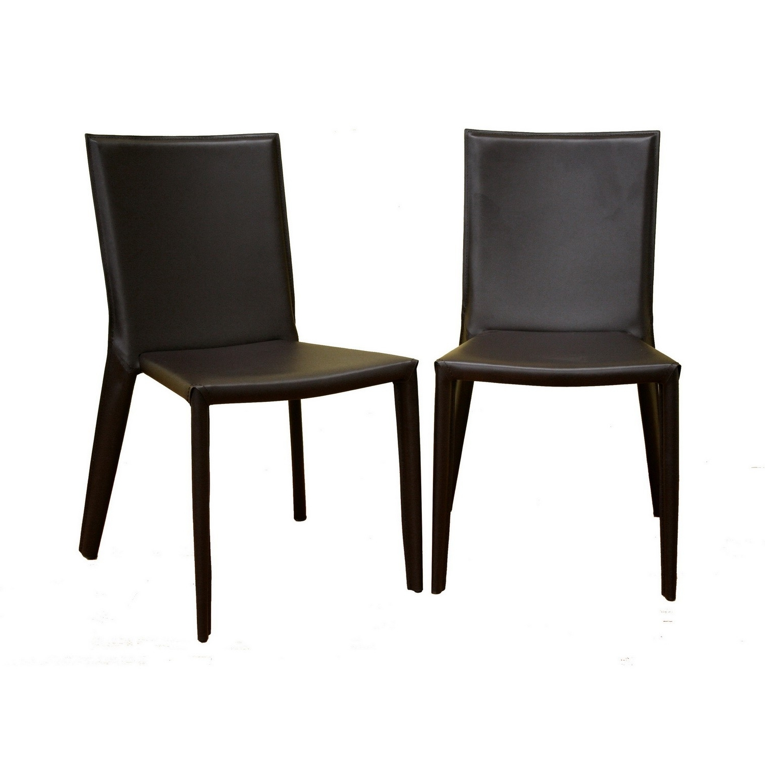Dark Brown Leather Dining Chairs For Trendy Semele Dark Brown Leather Dining Chair (View 7 of 25)