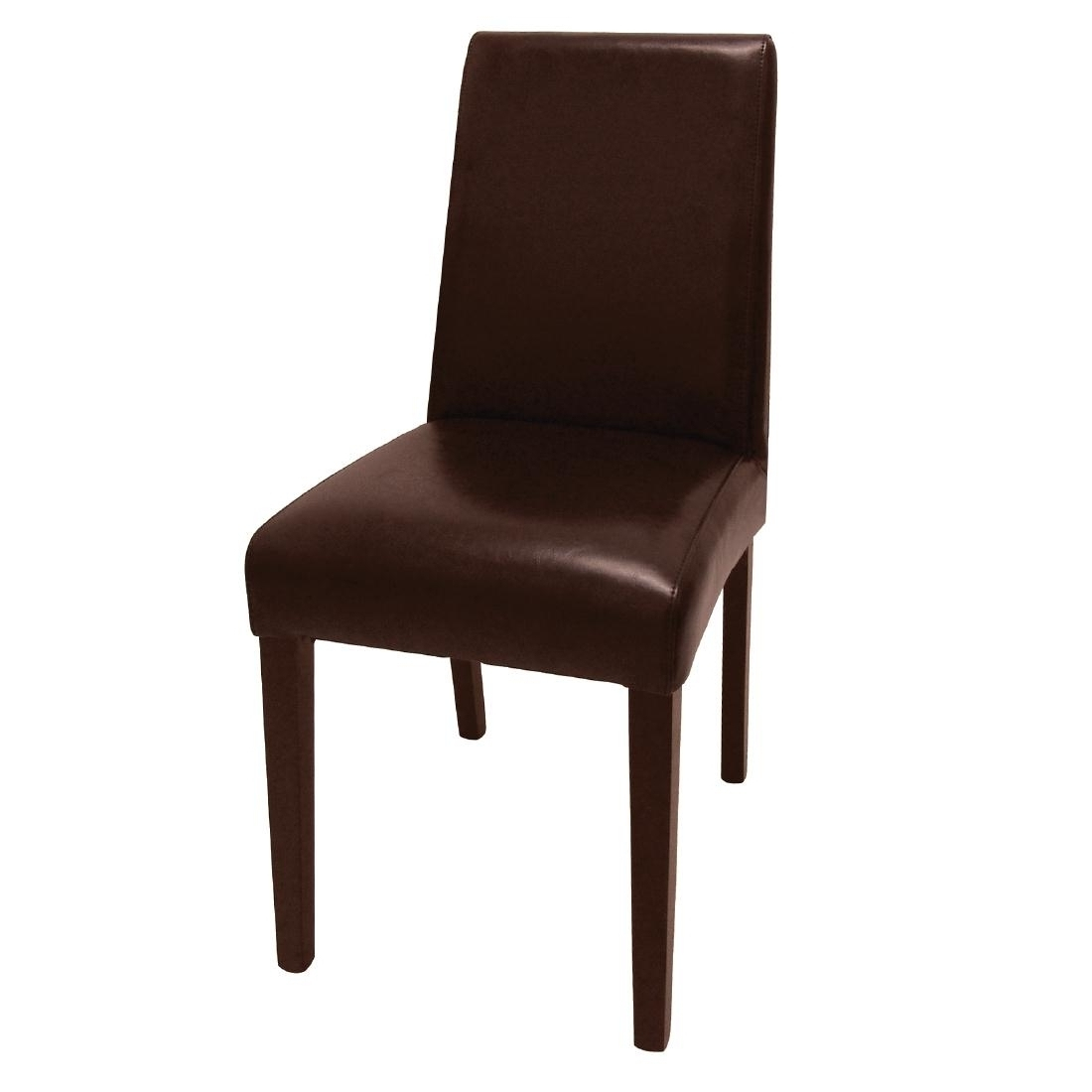 Dark Brown Leather Dining Chairs throughout 2017 Bolero Faux Leather Dining Chairs Dark Brown Pk 2-Pk 2, The Pubshop