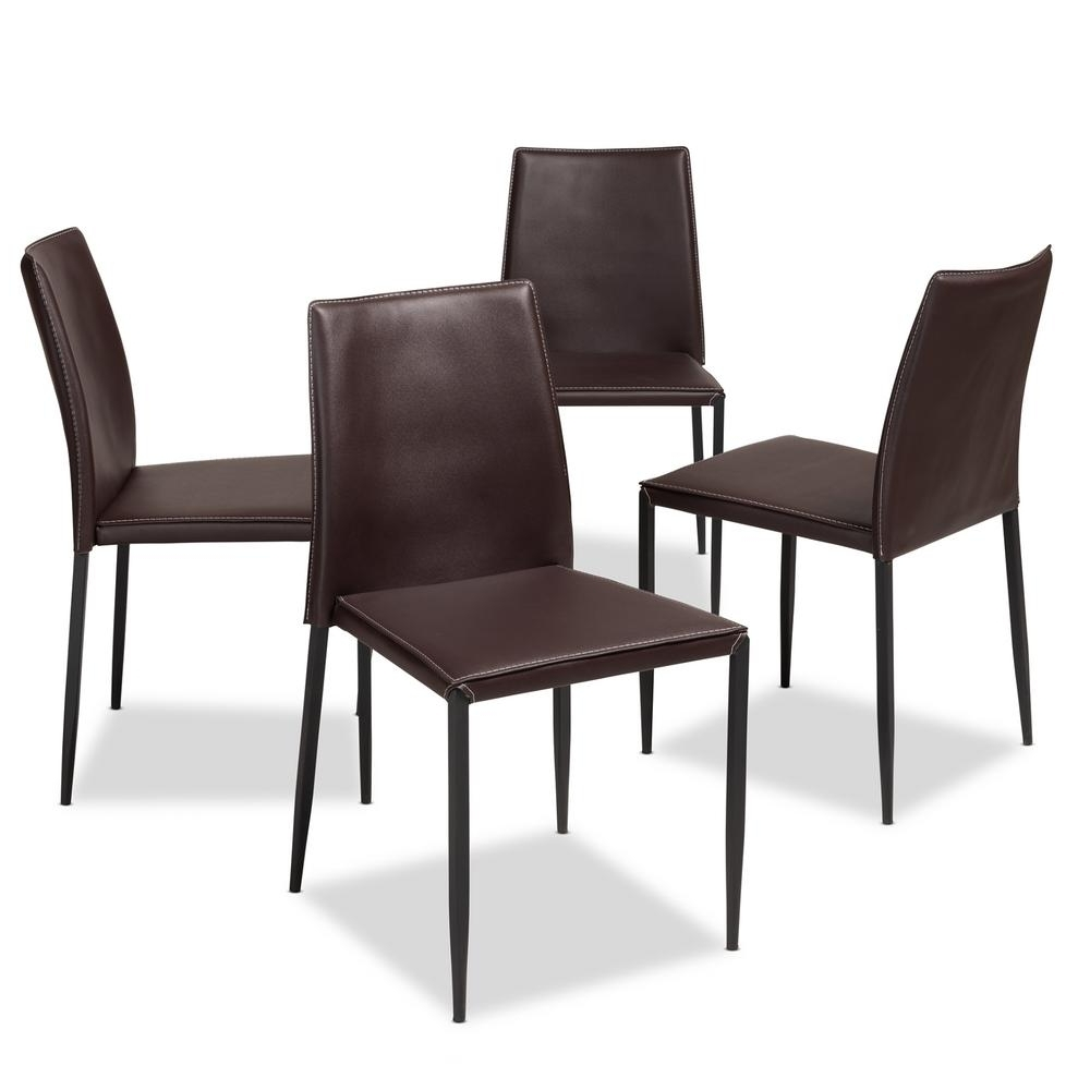 Dark Brown Leather Dining Chairs With Preferred Baxton Studio Pascha Dark Brown Faux Leather Upholstered Dining (View 11 of 25)