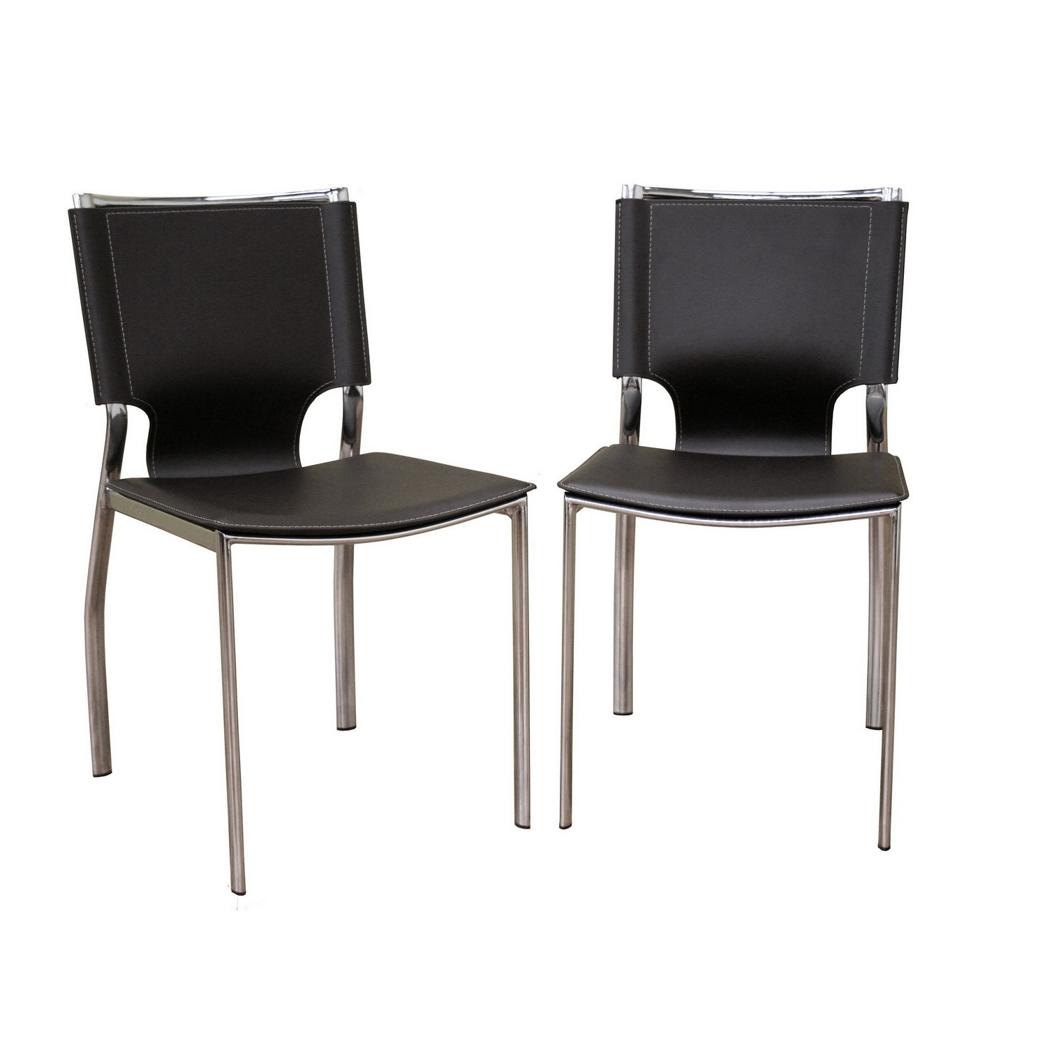 Dark Brown Leather Dining Chairs within Recent Dark Brown Leather Dining Chair With Chrome Frame