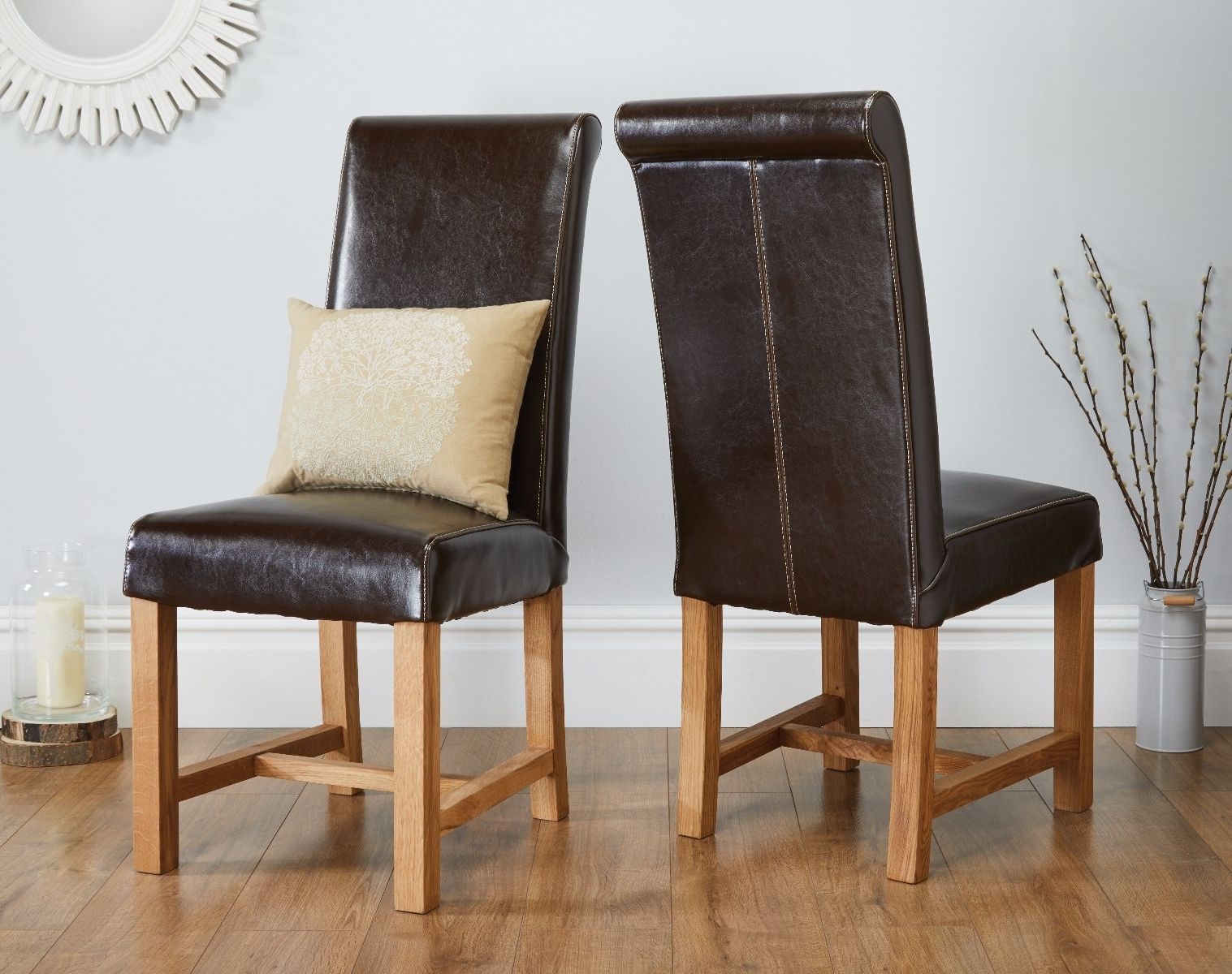 Dark Brown Leather Dining Chairs within Widely used Titan Chocolate Brown Premium Leather Dining Chair - Free Delivery