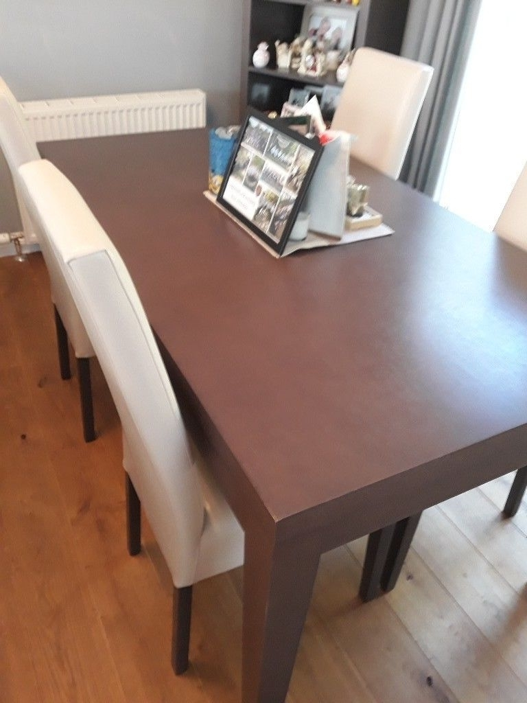 Dark Dining Room Tables for Most Current Dark Wood Dining Room Table And 4 Cream Leather Affect Chairs V.g.c