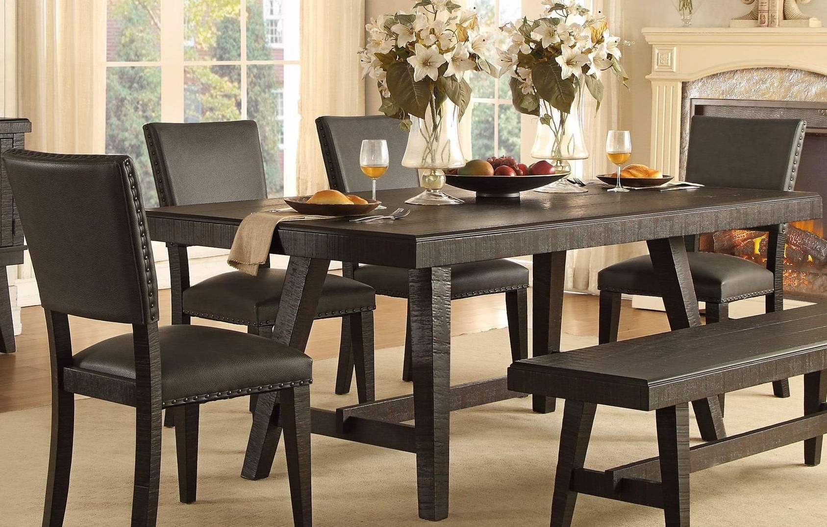 Dark Dining Room Tables Regarding Well Liked Homelegance Fenwick Dark Grey Dining Table – Fenwick Collection: 4 (Gallery 2 of 25)