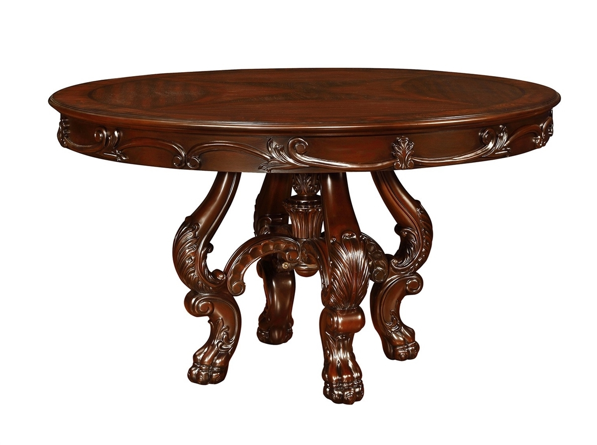 "Dark Round Dining Tables Within Latest Coaster Benbrook 54"" Dia 105510 Dark Cherry Traditional Round Dining (Gallery 20 of 25)"
