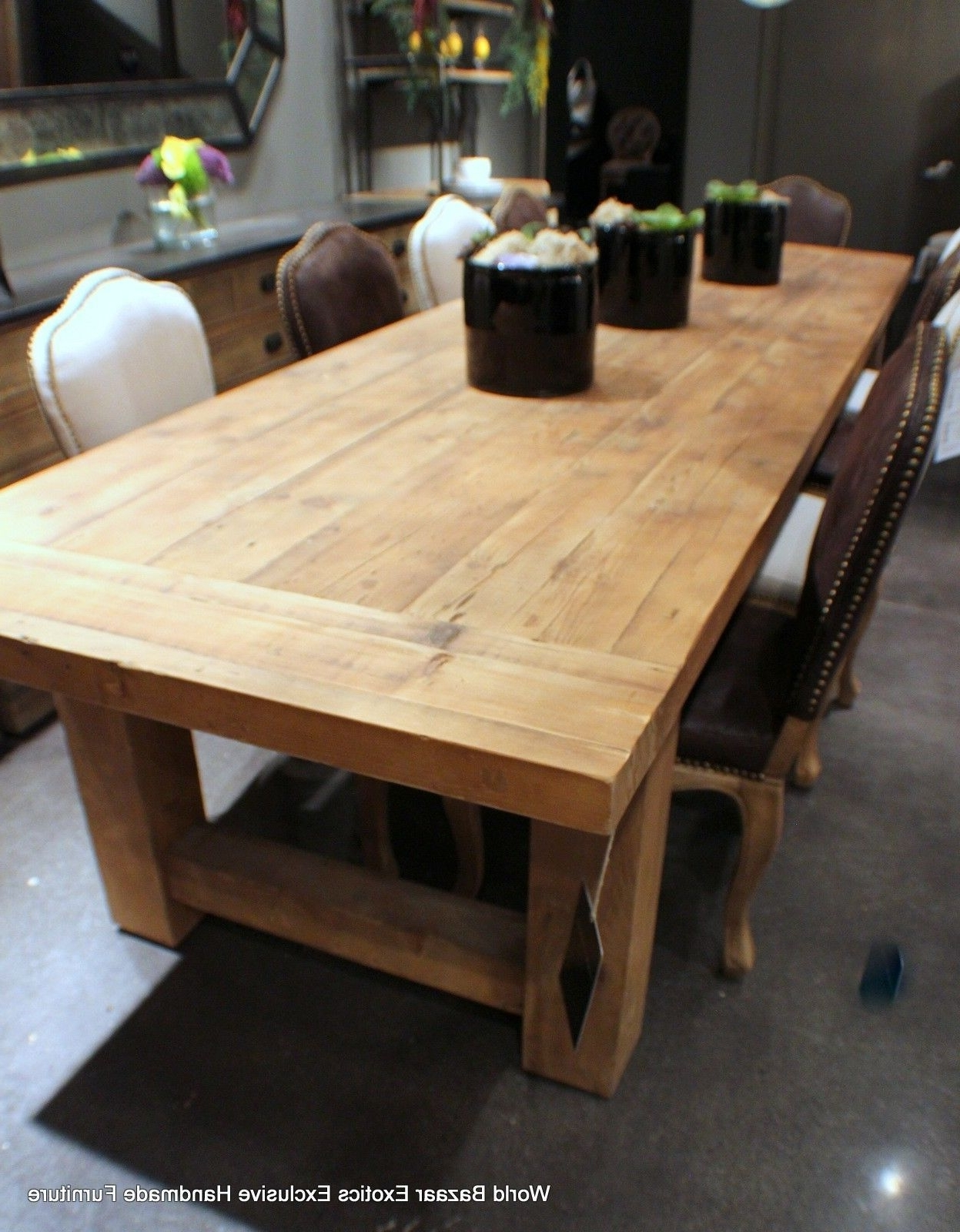 Dark Solid Wood Dining Tables Pertaining To Most Current Large Wood Dining Room Table Solid Dark Antique Bleached Natural (View 12 of 25)